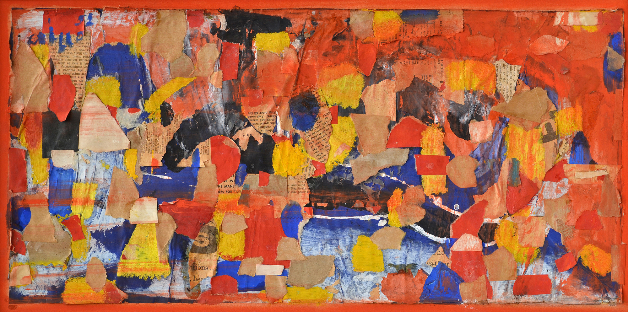 SOLD  Red Vapors, 1952  , collage on canvas, 12 x 18 inches