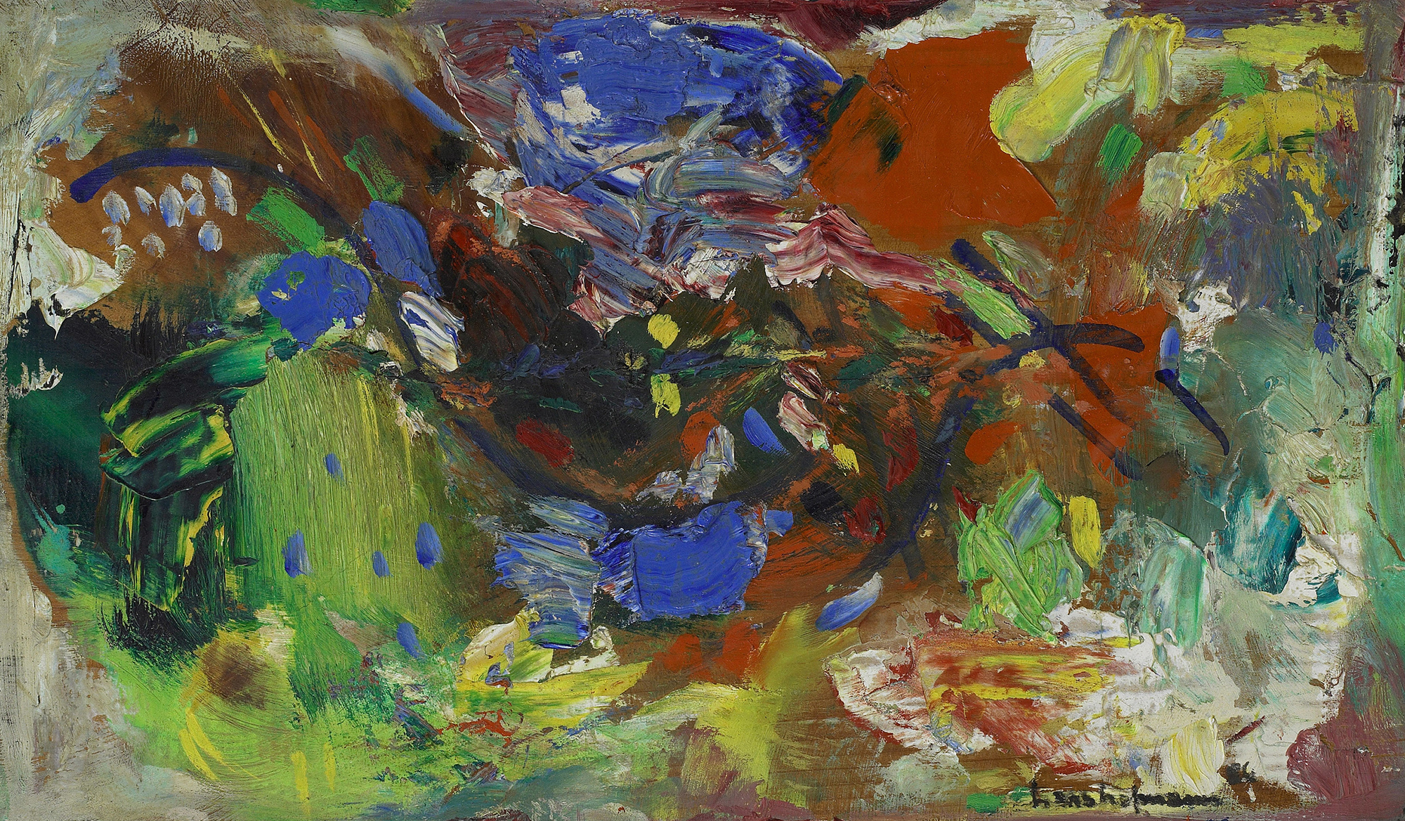 SOLD  Enhancement, 1956  , oil on board, 11 x 18 1/2 inches