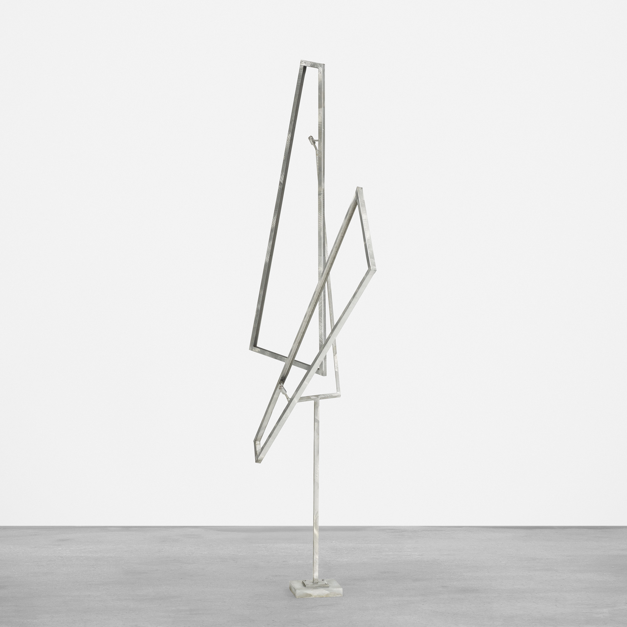 Two Trapezoids Eccentric, One Up, One Down, 1978  , Stainless steel, 68 x 58 1/2 x 12 1/2 inches