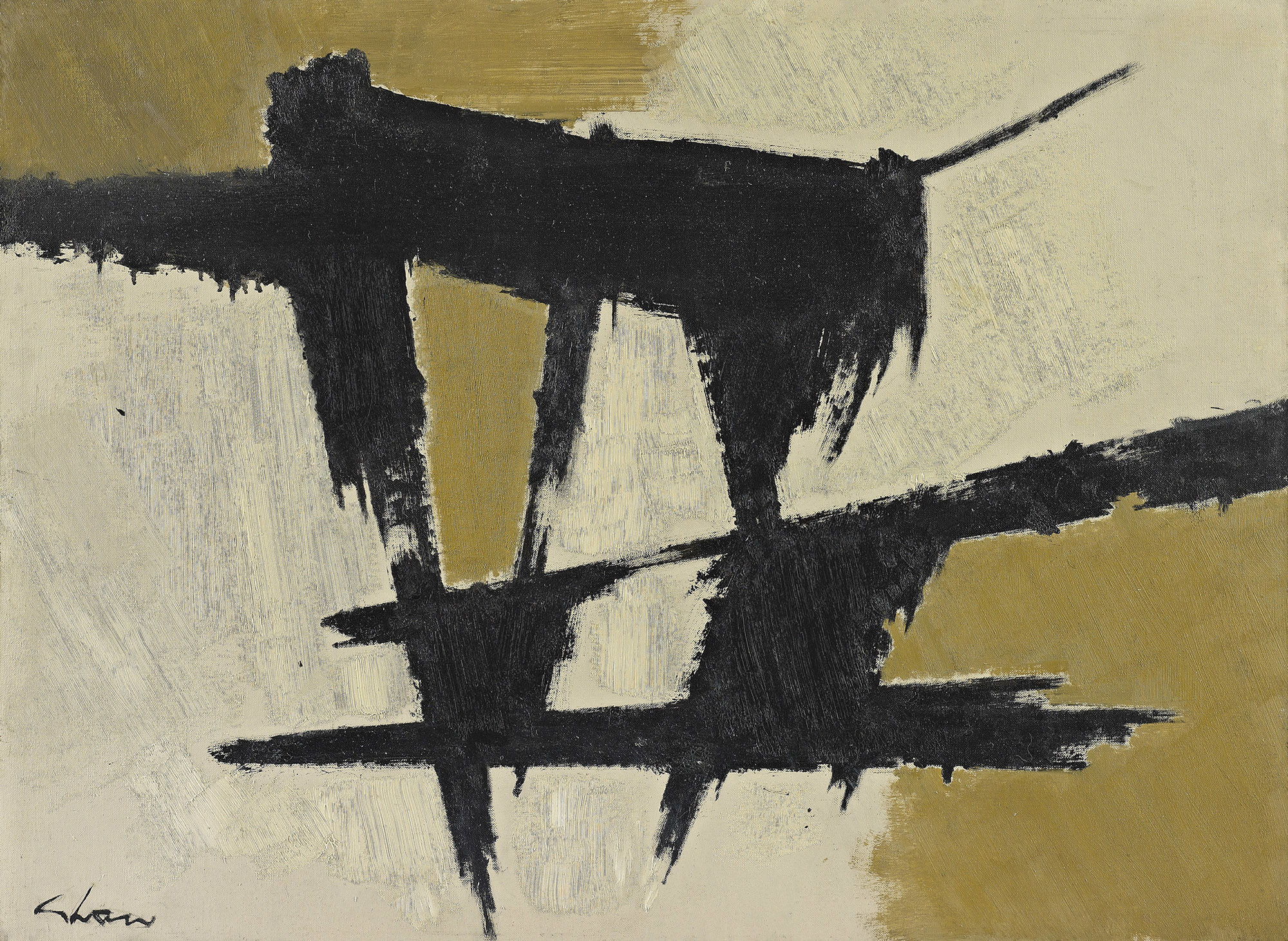 Suspension in Space - 2  , 1960, oil on canvas, 22 x 30 inches
