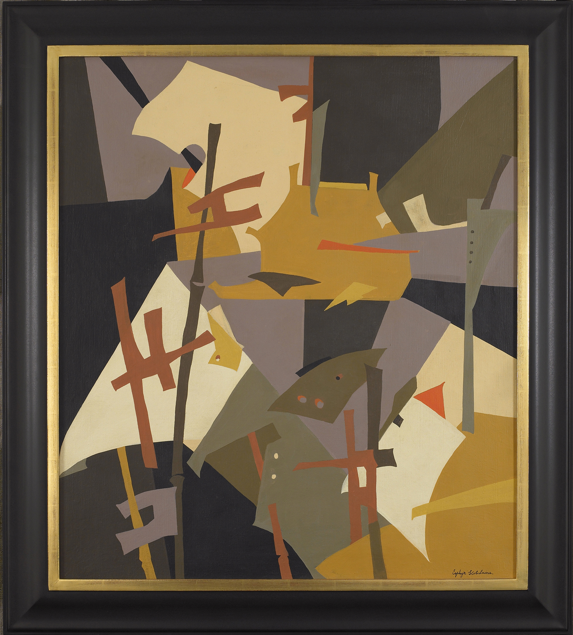 SOLD  Japanese Abstraction,   Oil on canvas, 1950s, 34 1/4 x 30 1/3 inches