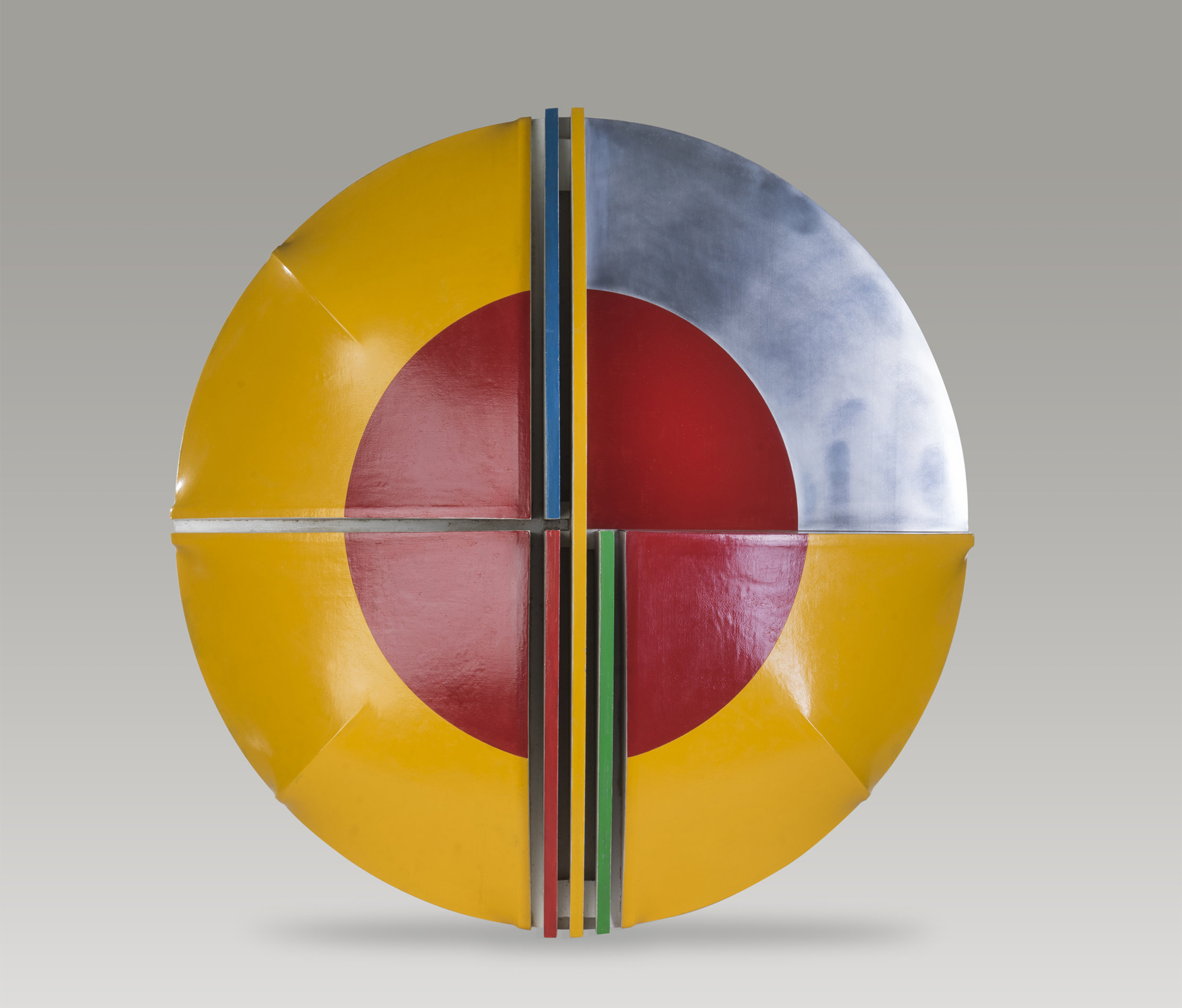 Yellow Shield, c. 1960s  , acrylic on stretched canvas, wood and aluminum, 47 x 8 1/4 inches