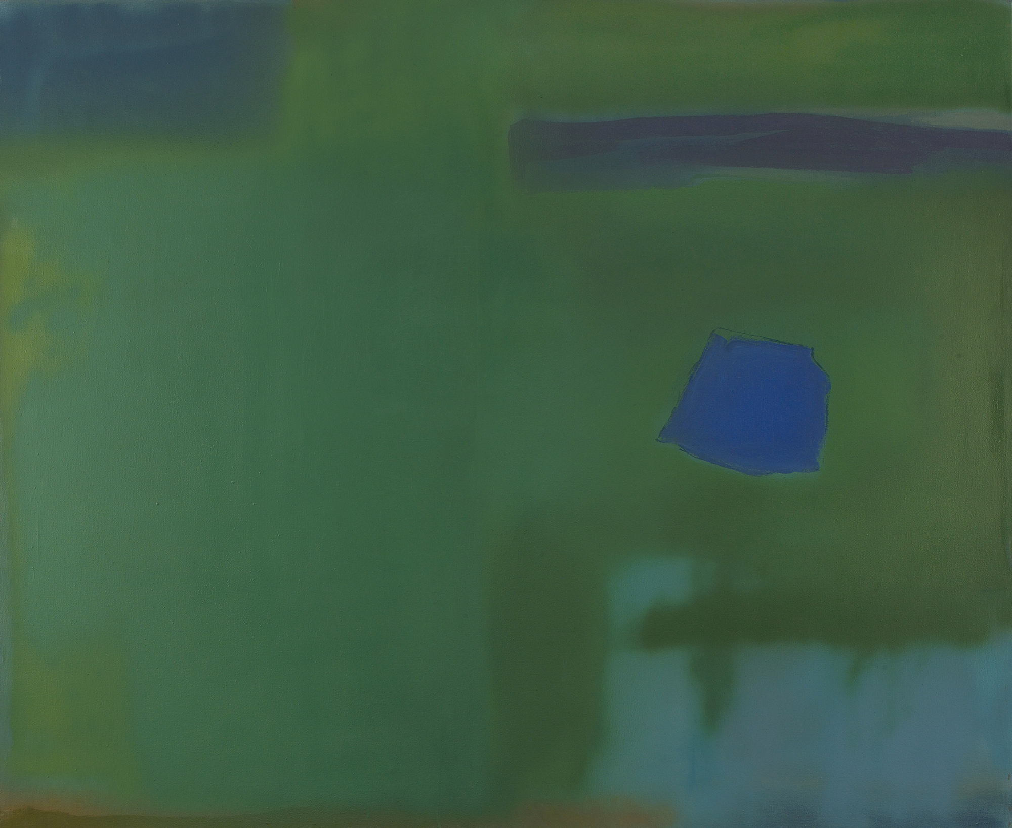 SOLD  Blue on Green,   1981, acrylic on canvas, 56 x 68 inches