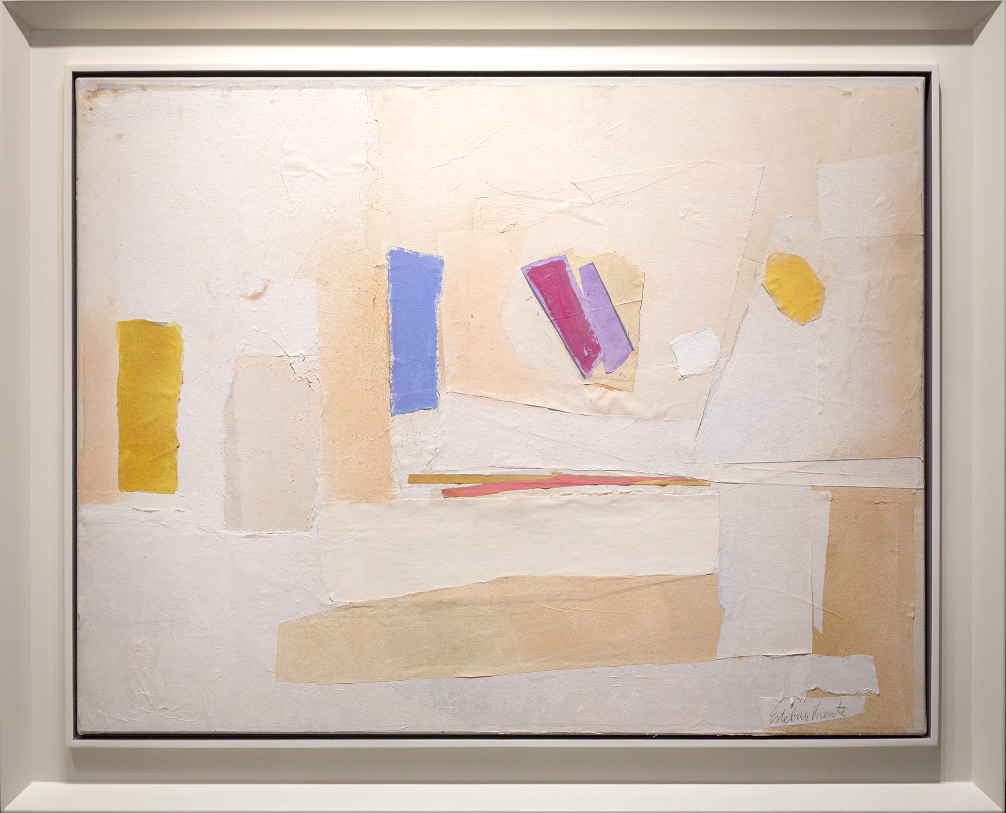 SOLD  Untitled ,  1987, collage -oil and paper on canvas, 34 x 44 inches