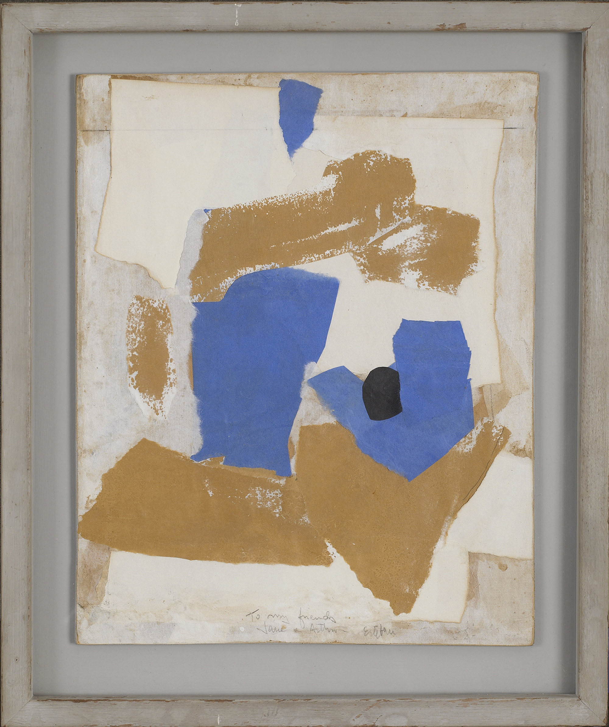SOLD  Untitled,   c. 1961, collage on board painted by the artist, 13 1/2 x 10 1/2 inches