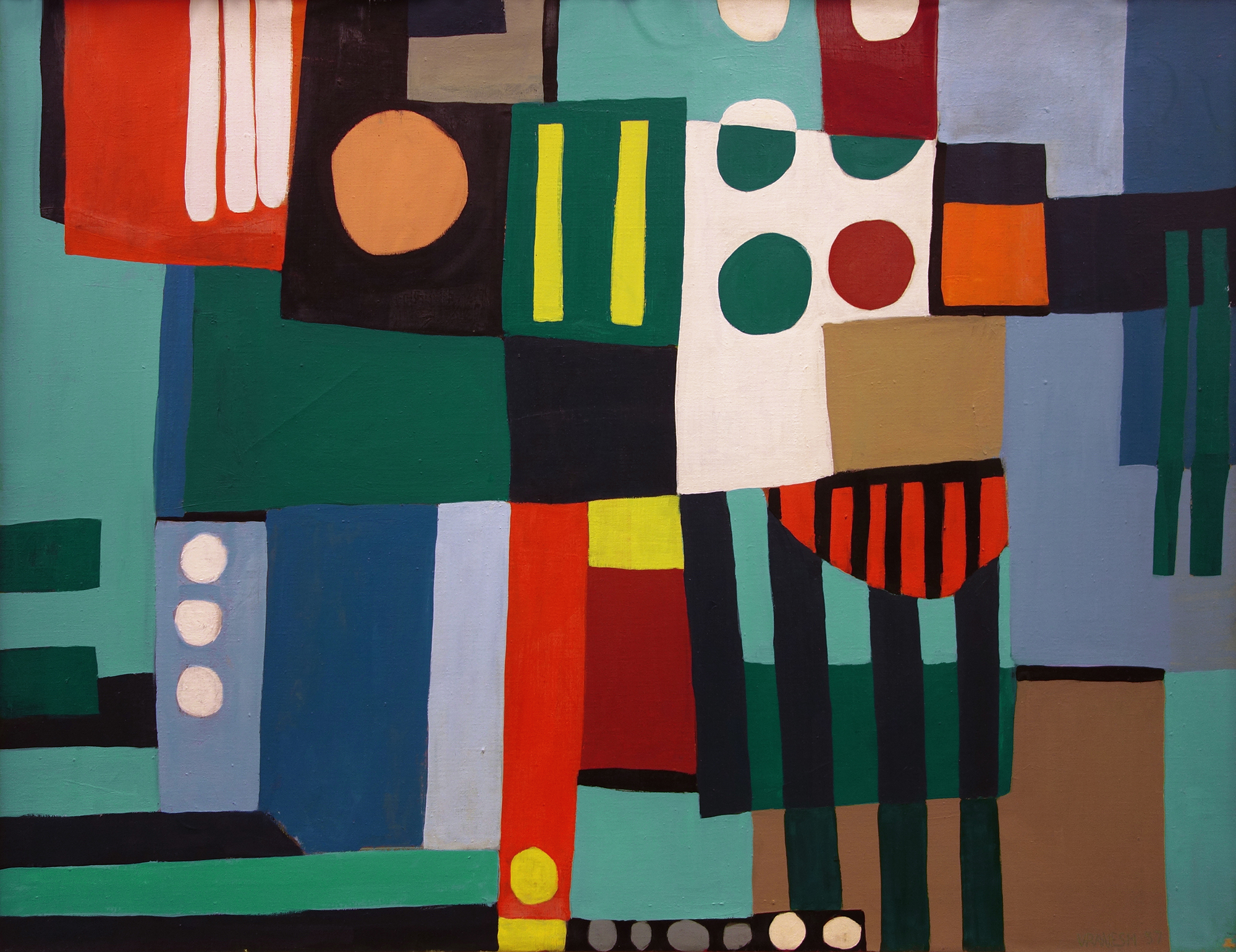 Button Down Jazz,   Oil on canvas, 1957, 28 x 36 inches