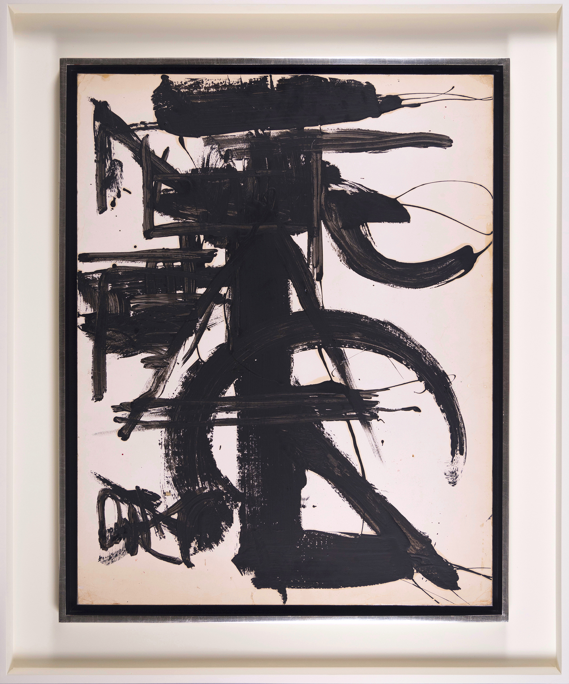 Black & White with Abstract,   Enamel on oaktag, c. 1970, 28 x 22 inches