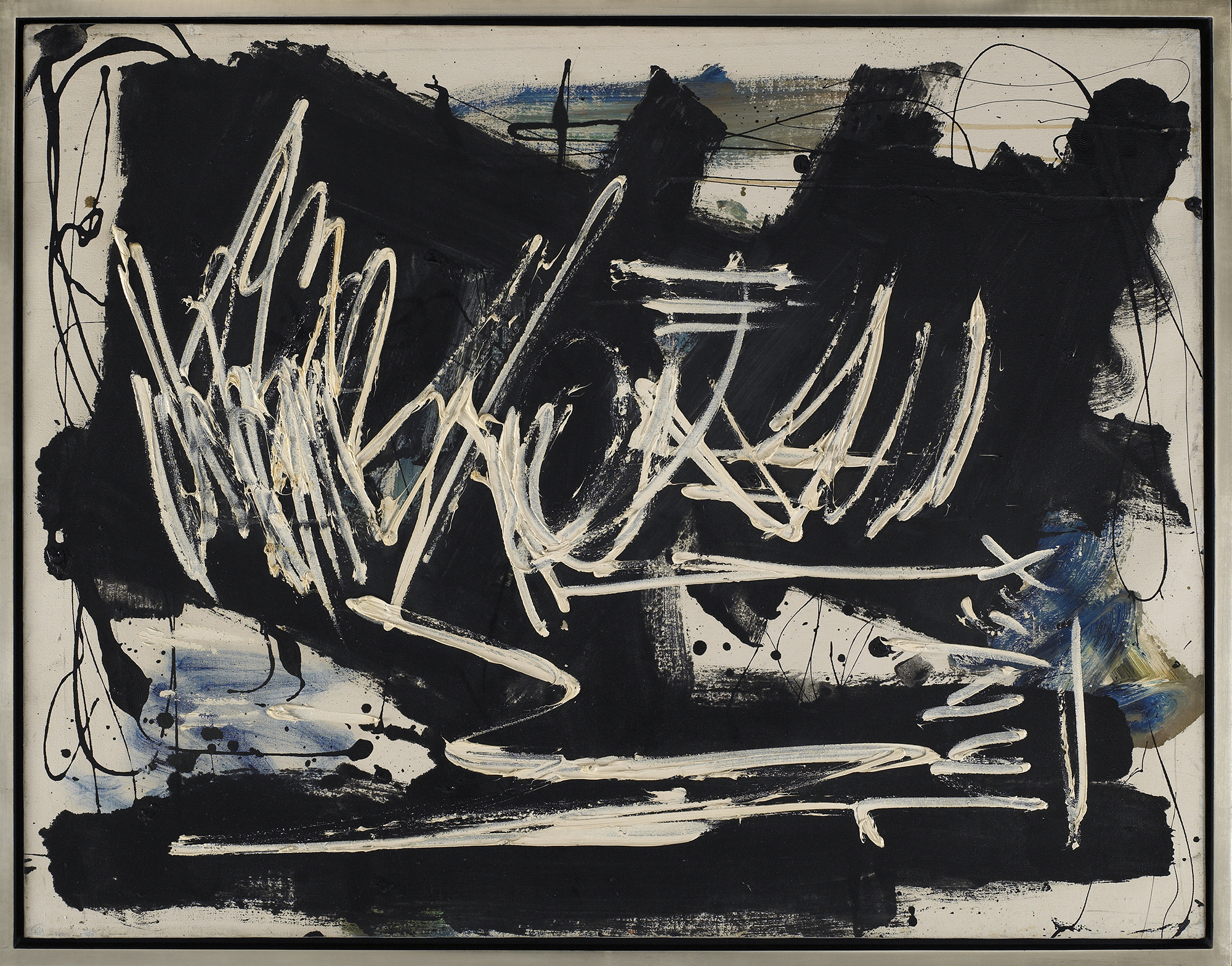 SOLD  Black and White with Blue,   Oil on canvas, c. 1968, 32 x 50 inches