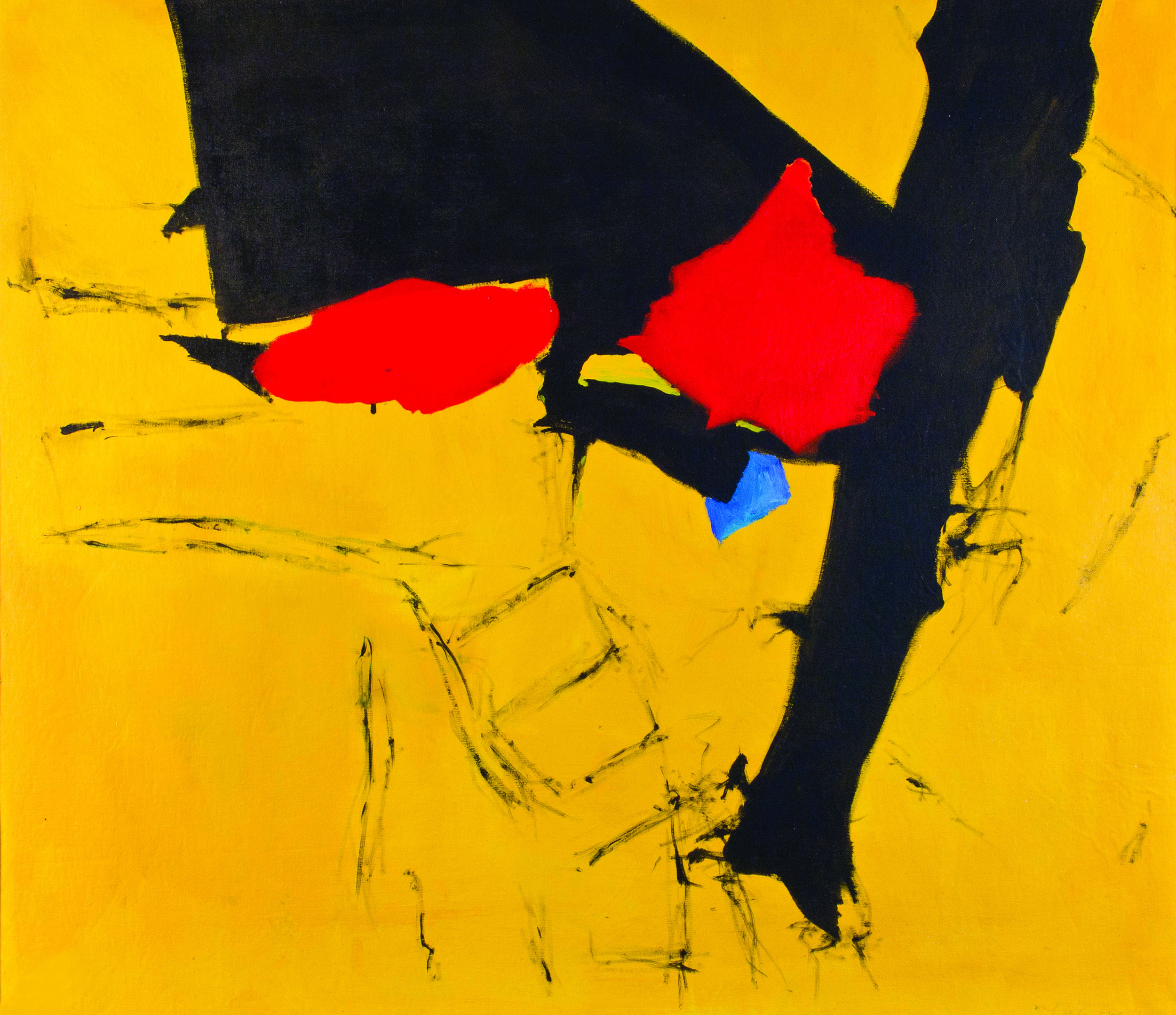 SOLD  Figure Descending a Ladder  , 1960, Oil on canvas, 43 x 48 inches