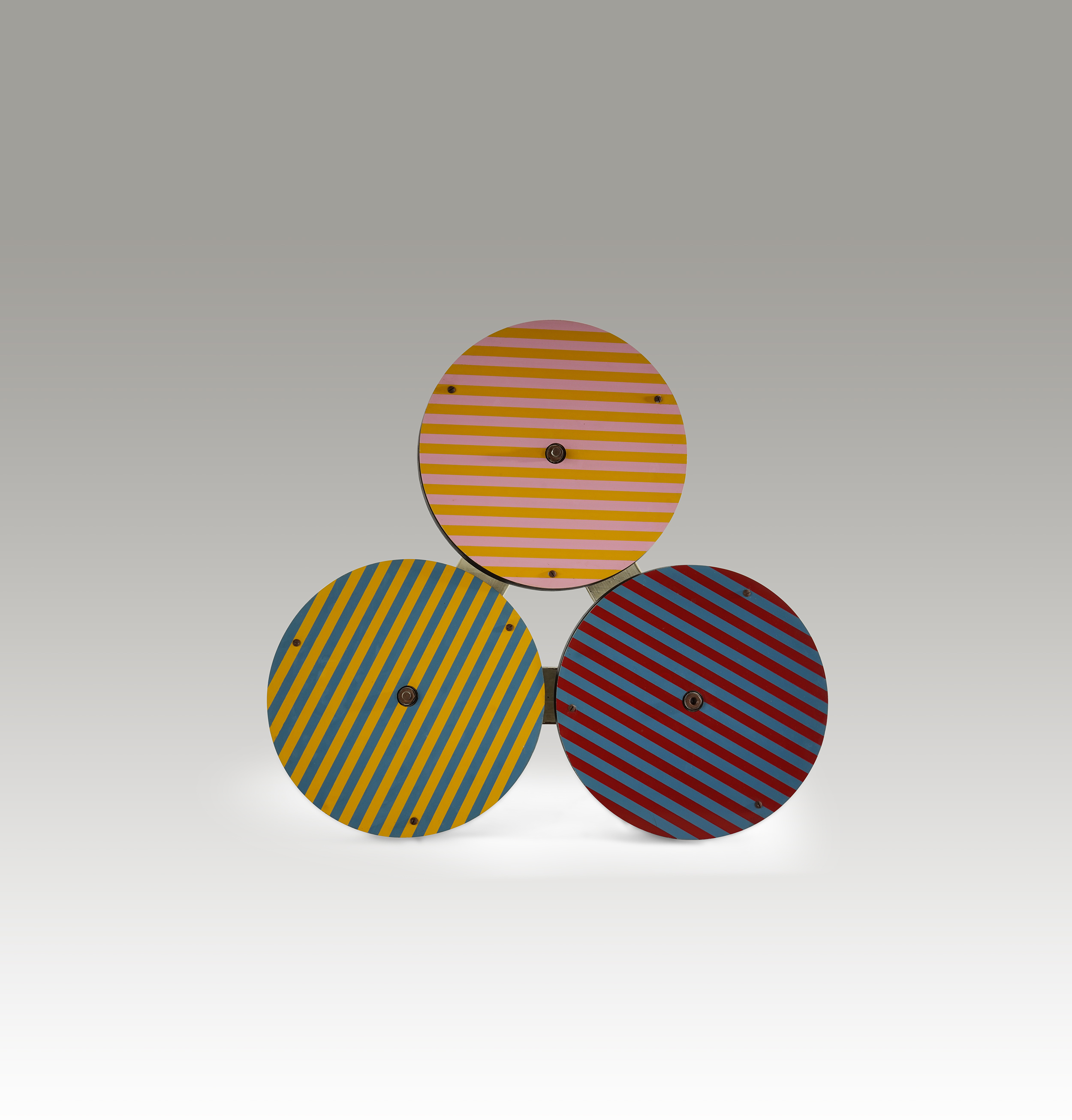 Untitled ,  Acrylic on aluminum with rotating disks, 1960s, 28 x 26 x 6 1/2 inches
