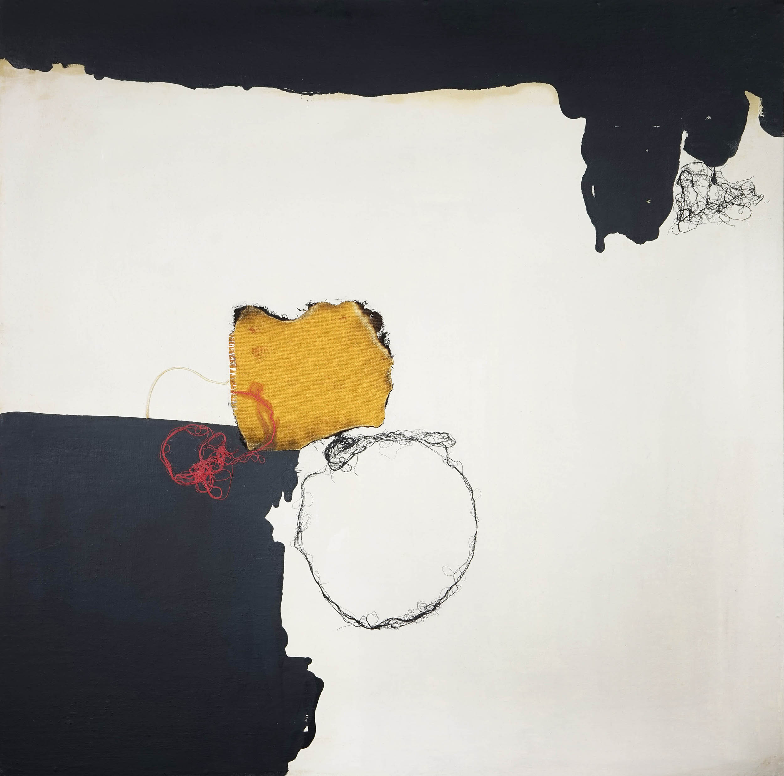 Untitled ,  Oil and fabric collage on canvas, 1961, 42 x 42 inches