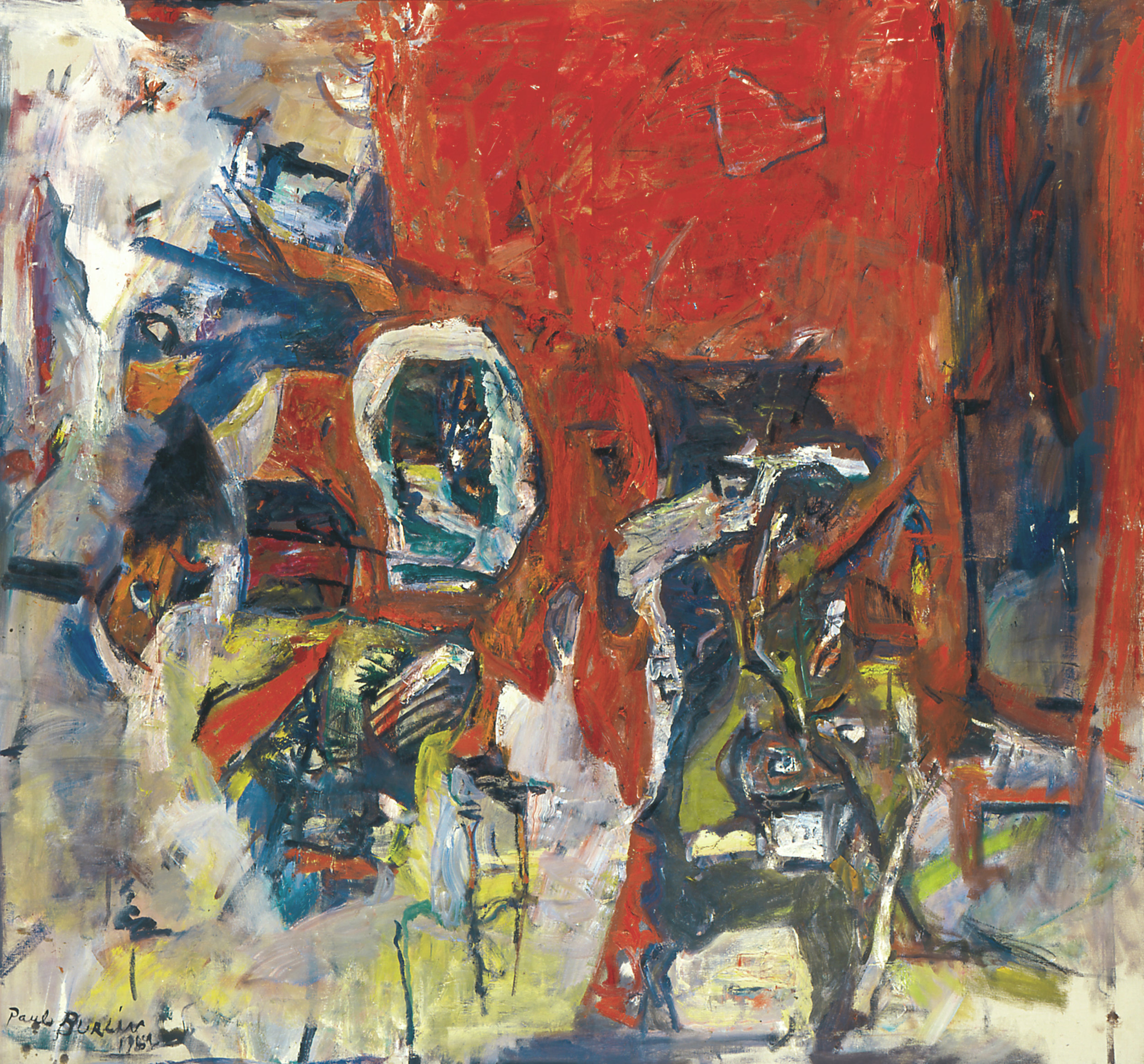 Red Red Not the Same II , Oil and acrylic on canvas, 1962, 69 x 75 inches