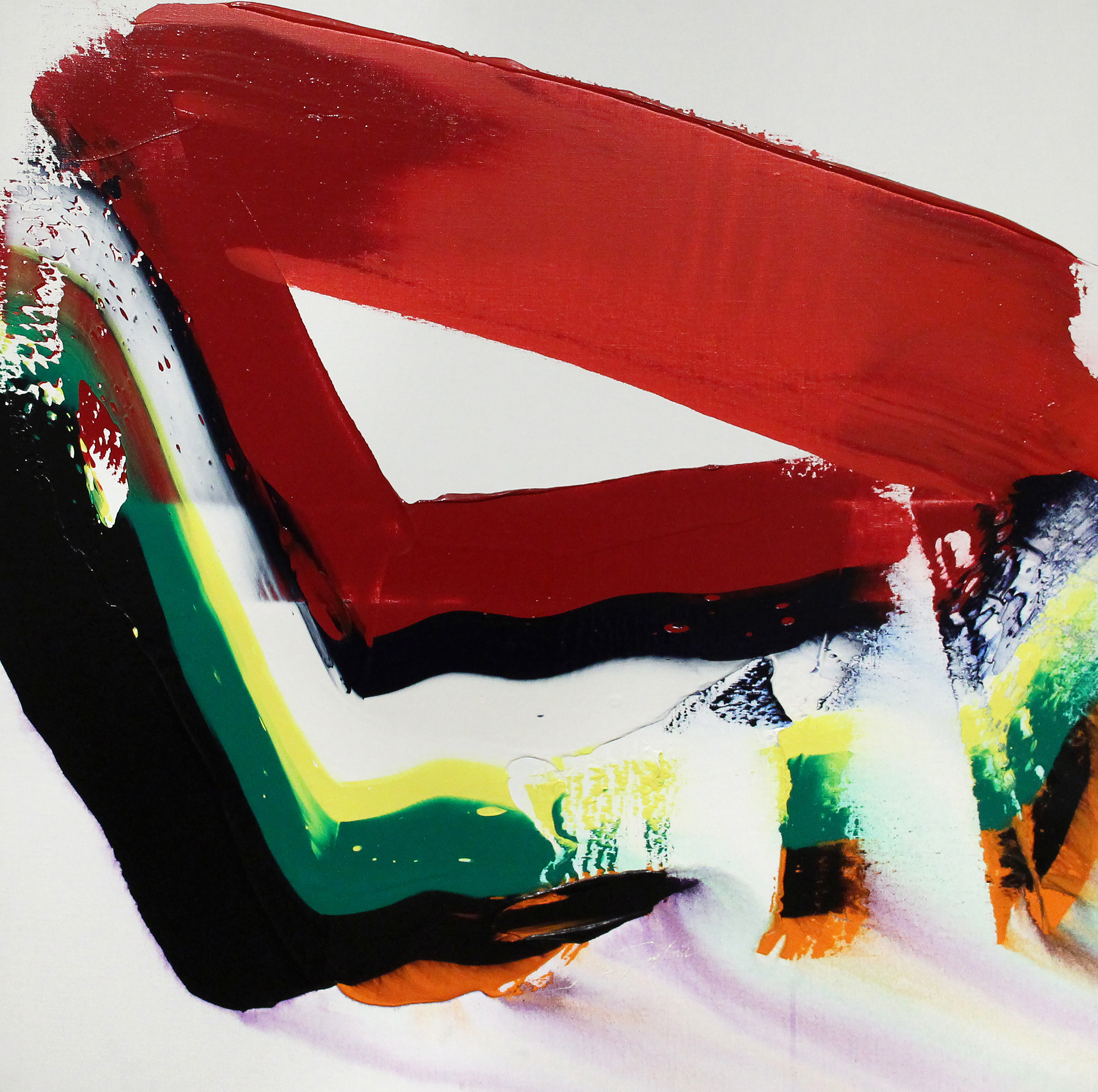 SOLD  Phenomena Red Robin Breast  , Acrylic on canvas, 1981, 39 x 39 inches