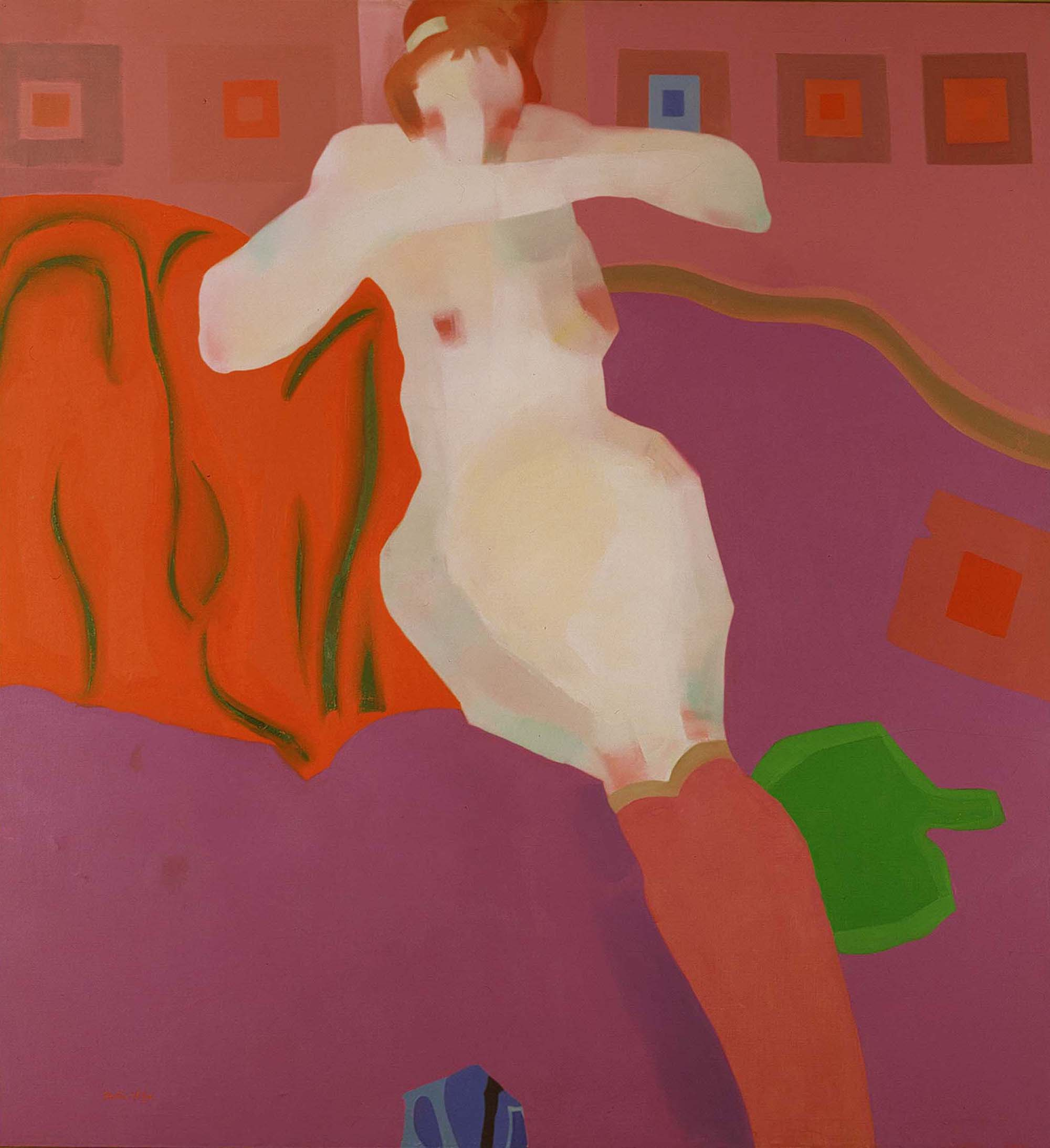 Figure in Purple Stockings  , Oil on canvas, 1959-1960, 54 x 50 inches