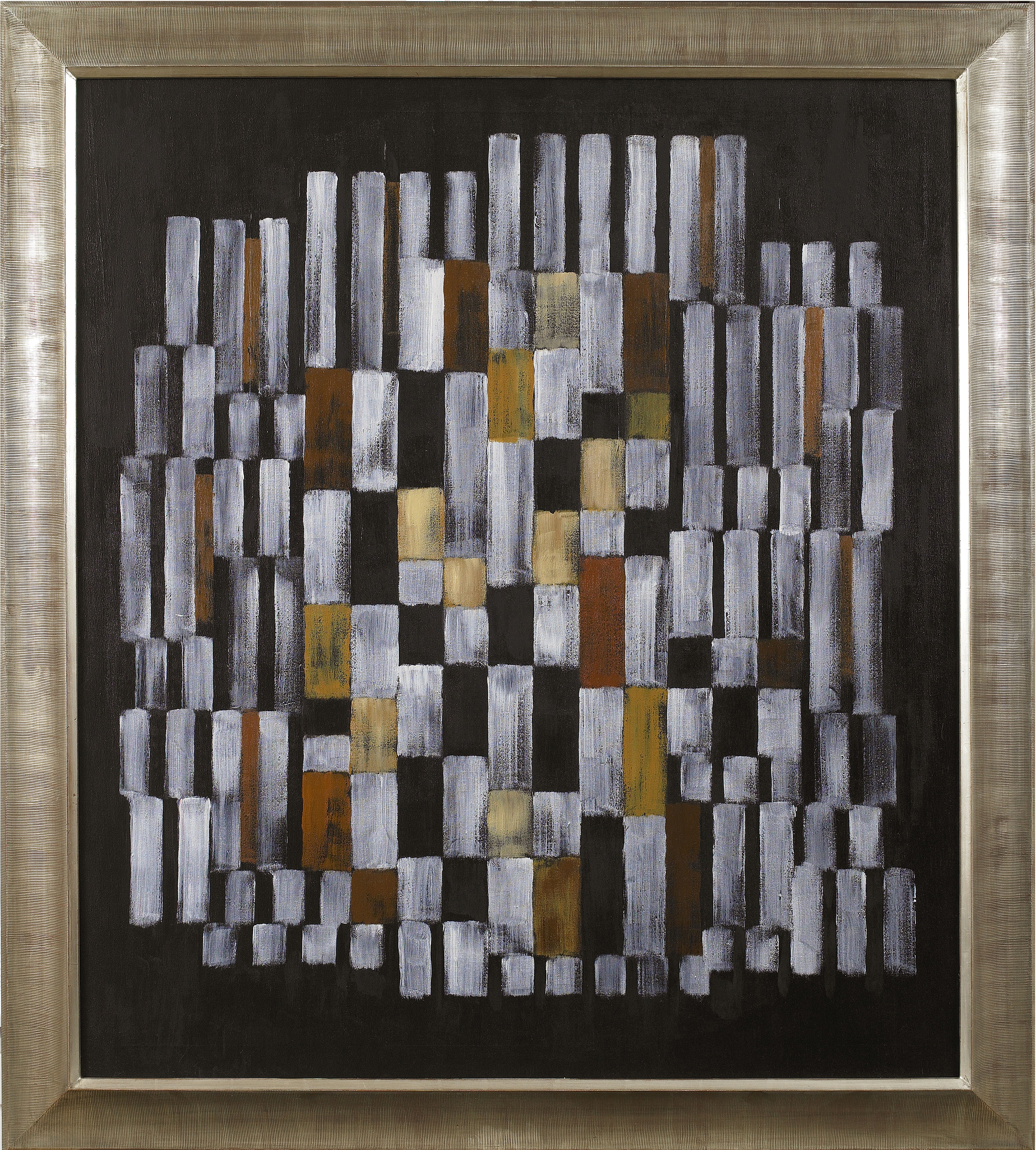 SOLD  Composition #510 Brown, White, Yellow  , Oil on canvas, 1961, 40 x 35 inches