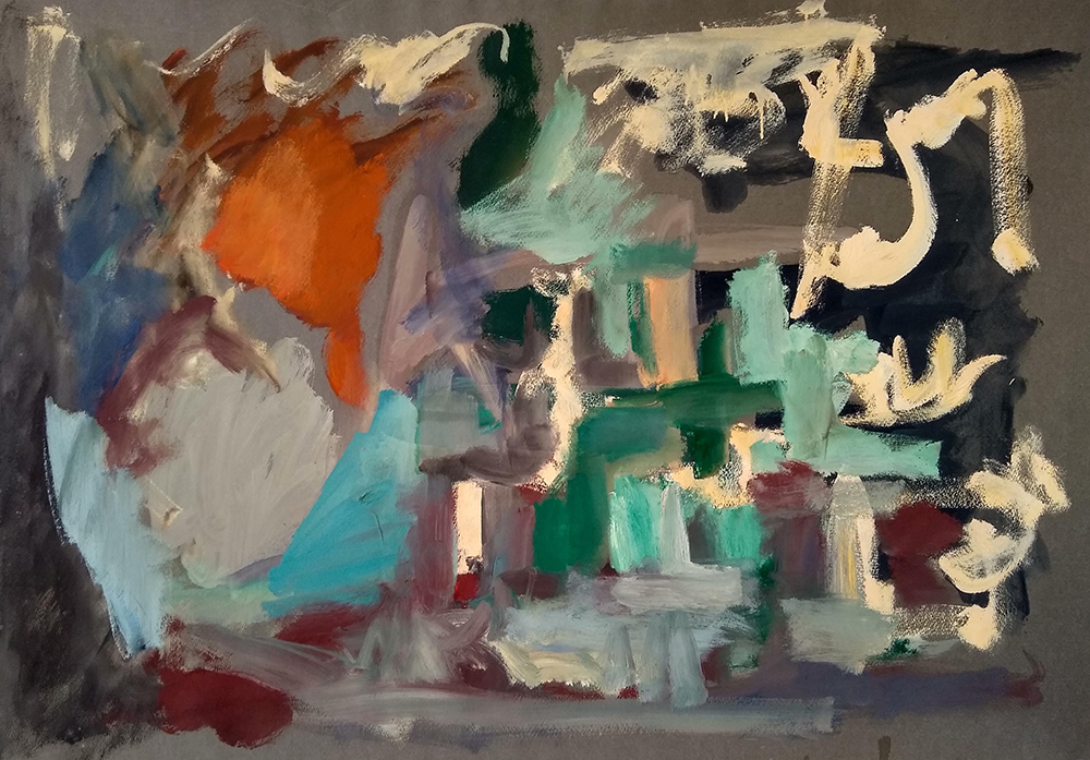 Untitled, Acrylic on paper, c. 1950s, 27 1/2 x 39 inches