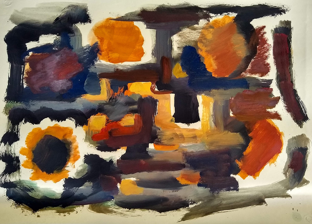 Untitled,   Oil on paper, c. 1950s, 19 x 26 inches