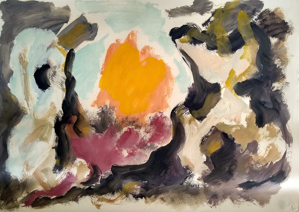 Untitled, Oil on paper, 1950s, 19 x 26 inches