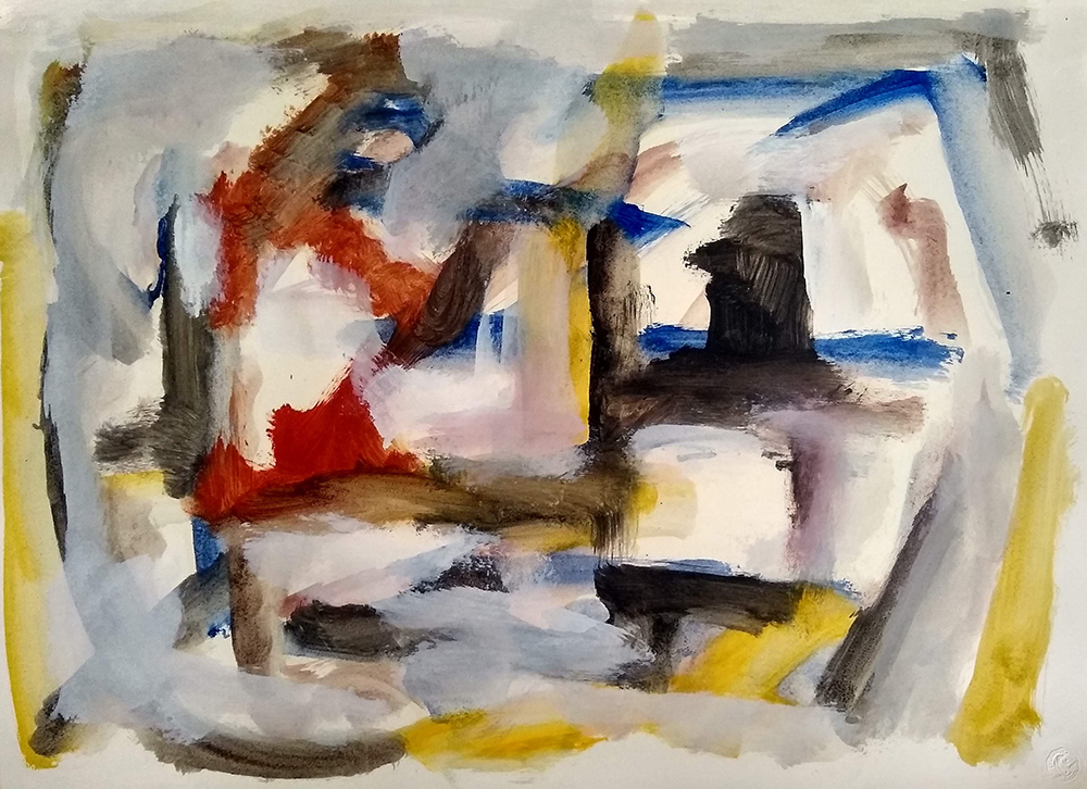 Untitled,   Oil on paper, c. 1950s, 18 3/4 x 26 inches