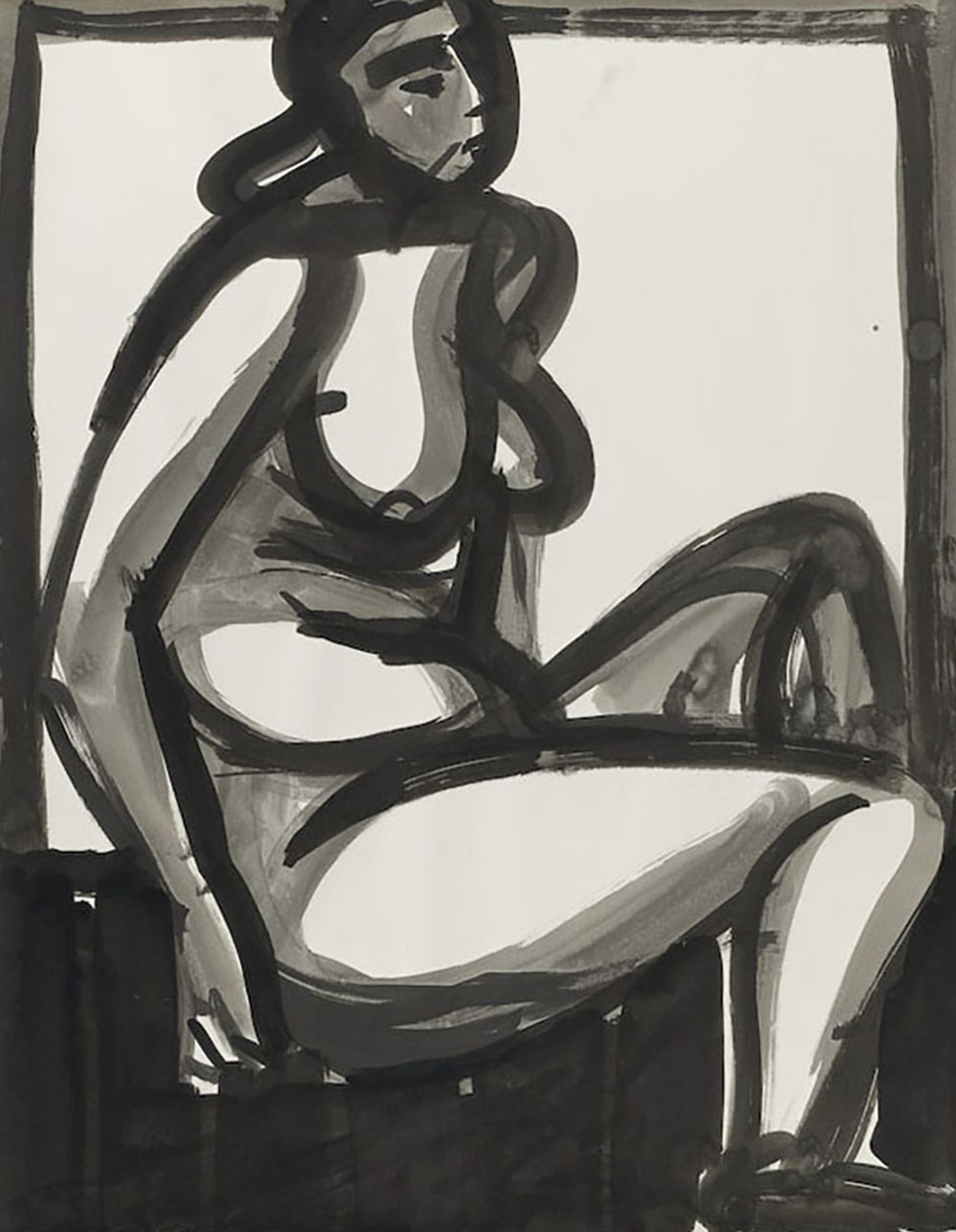 Nude,   India ink on paper, 1968, 29 x 23 inches