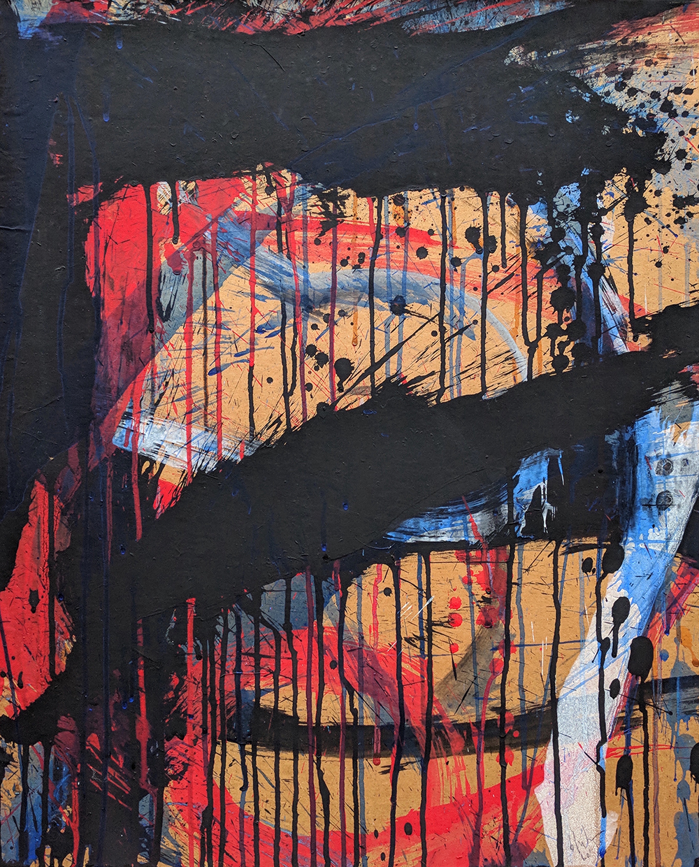 Untitled,   Oil and ink on paper laid down on canvas, 1962, 24 x 19 3/4 inches