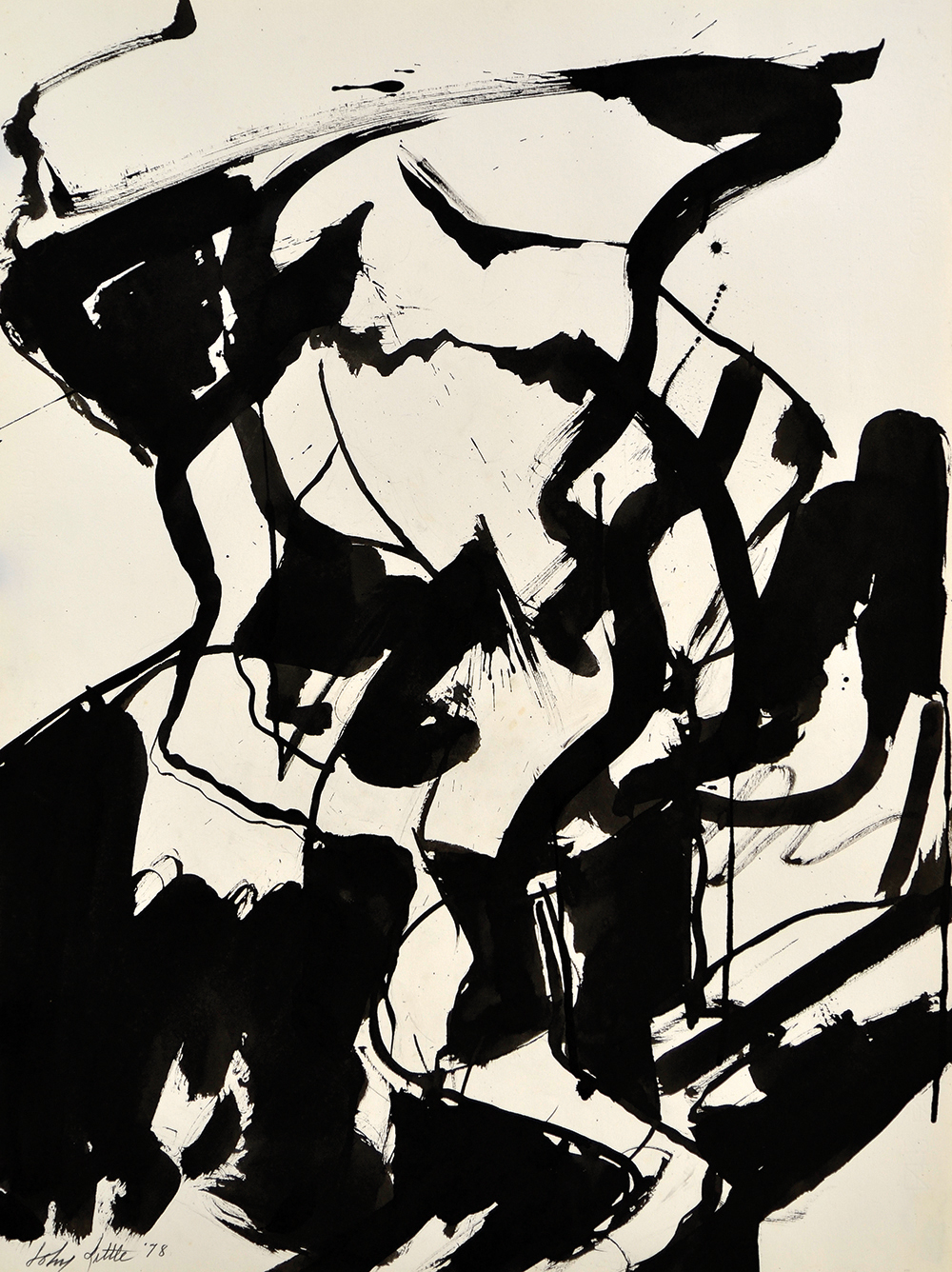 Skier,   Ink on paper, 1978, 29 3/4 x 22 1/8 inches
