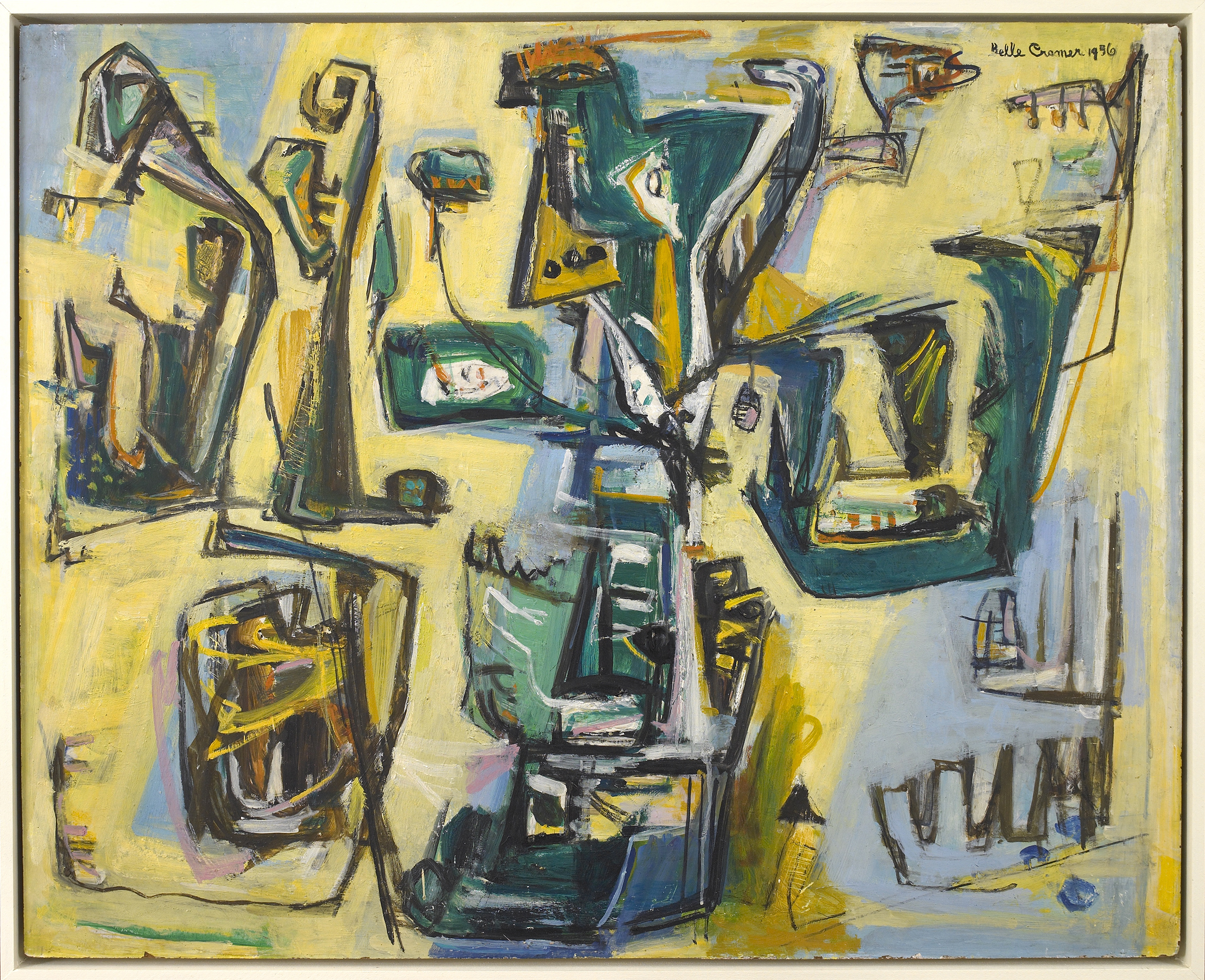 Abstract Composition,   1956, Oil on masonite, 32 x 40 inches