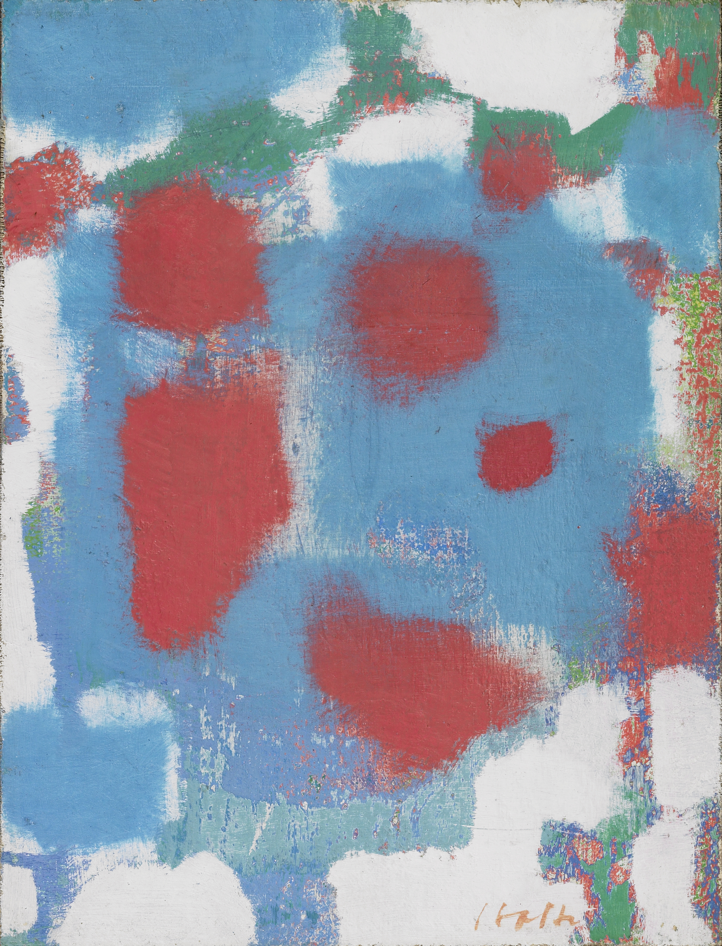 Abstract Composition  , Oil on canvas mounted on board, 1961, 11 7/8 x 9 inches