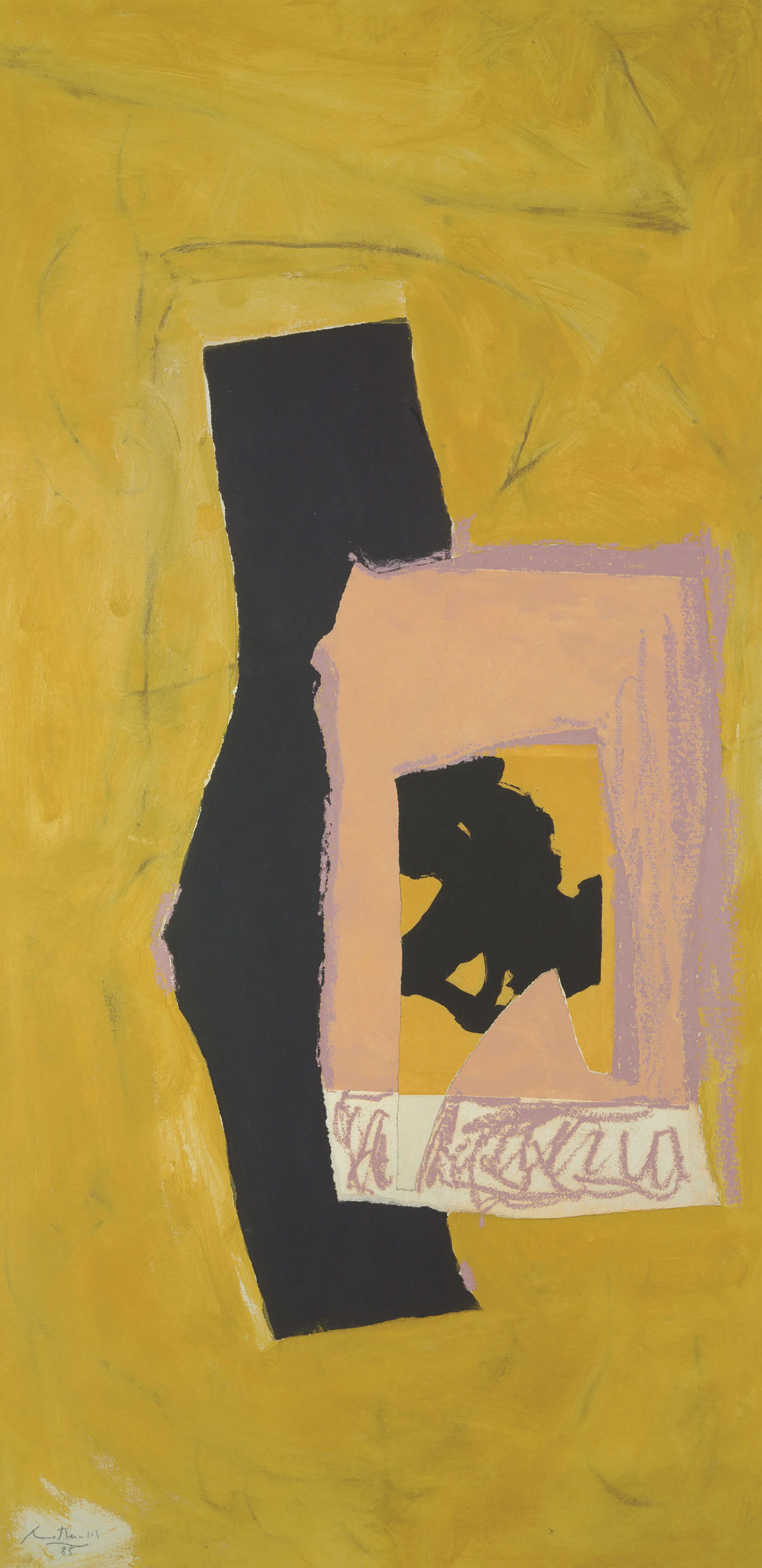 Untitled, 1985, Acrylic, oil stick, charcoal and paper collage on canvas laid down on Masonite, 72 1/8 x 35 7/8 inches