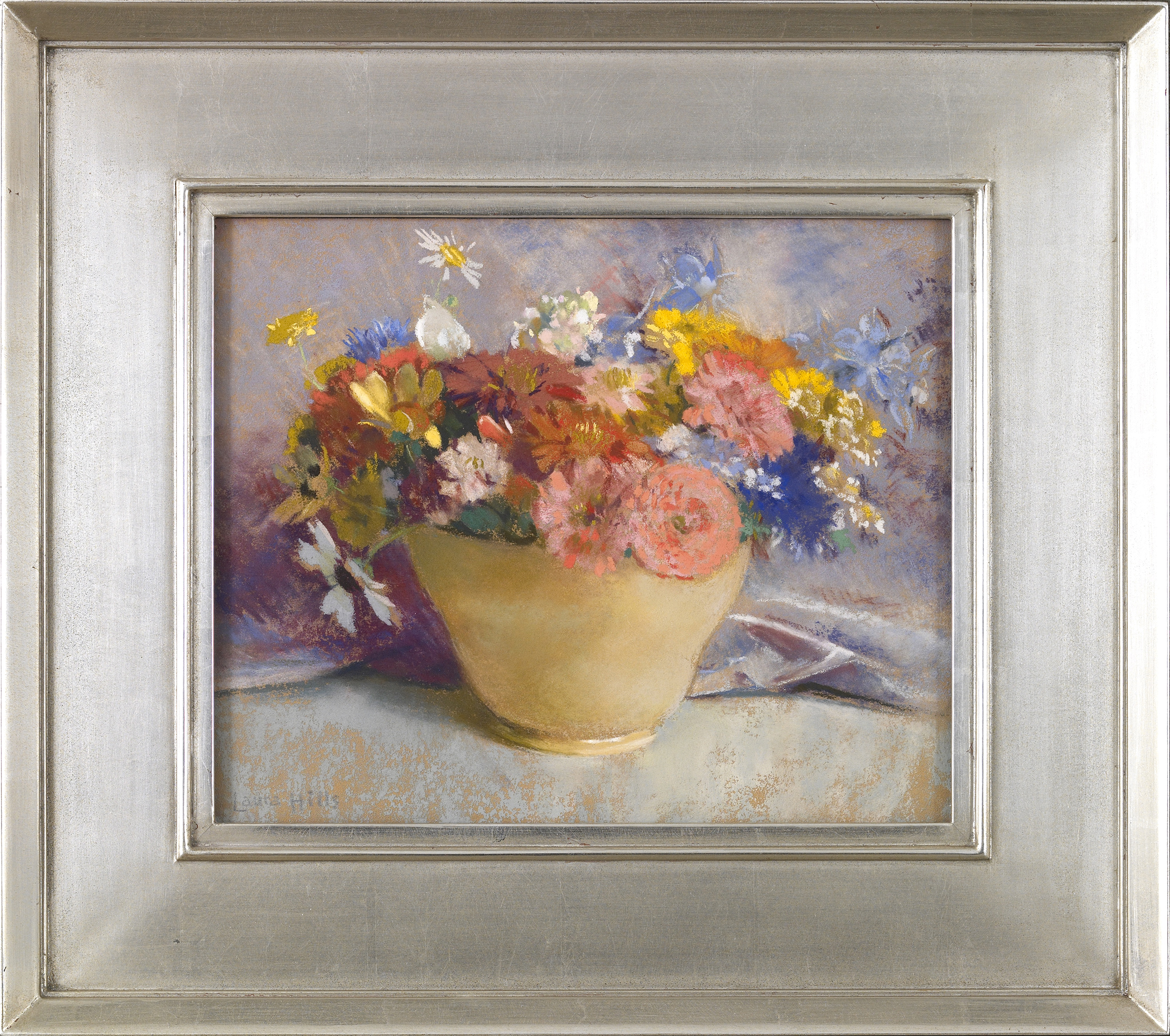 Mixed Flowers in a Yellow Vase  , Pastel on paper laid down on board, 10 1/2 x 13 inches
