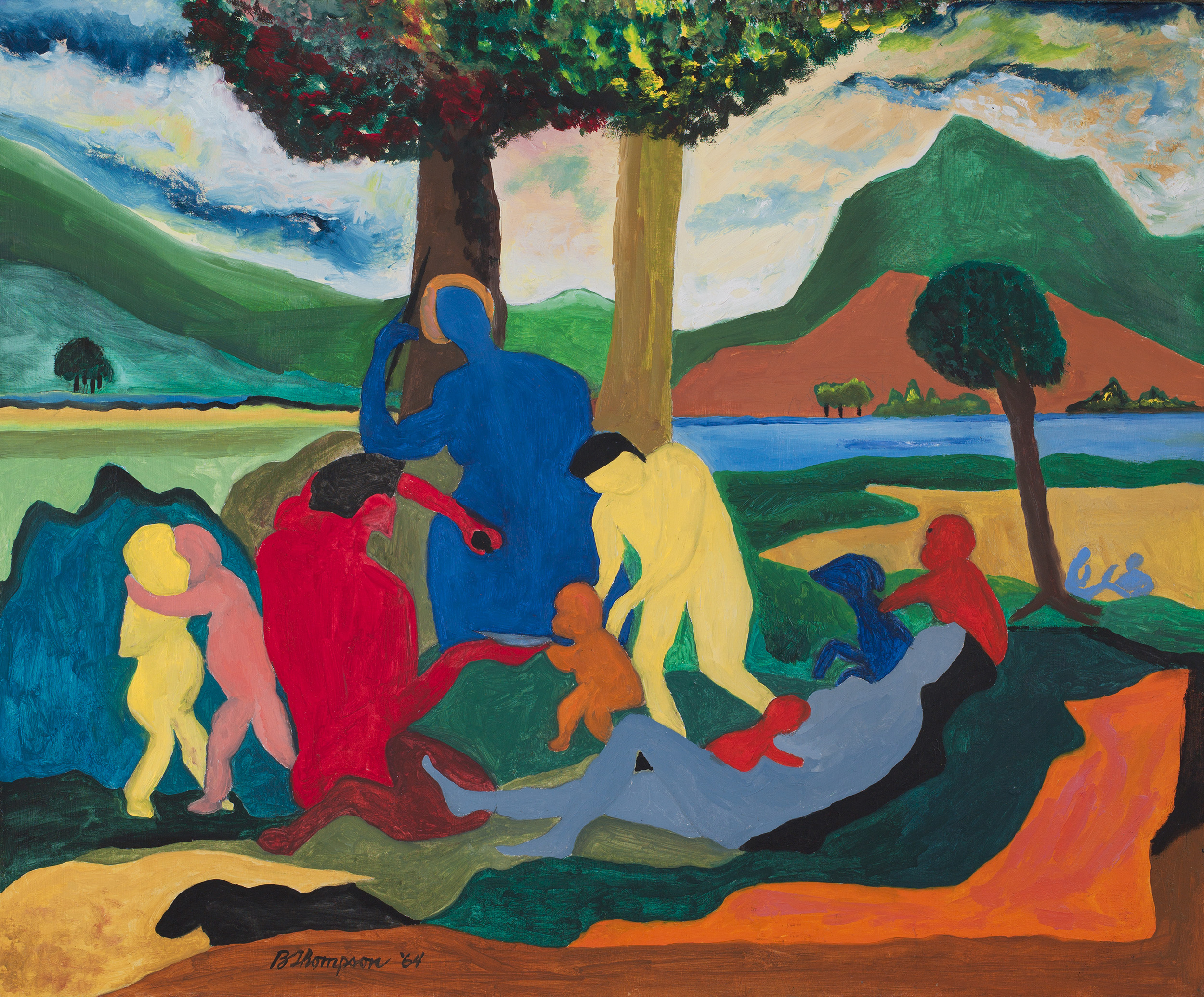 Figures with Blue Saint,   1964, Oil on masonite, 19 x 23 inches