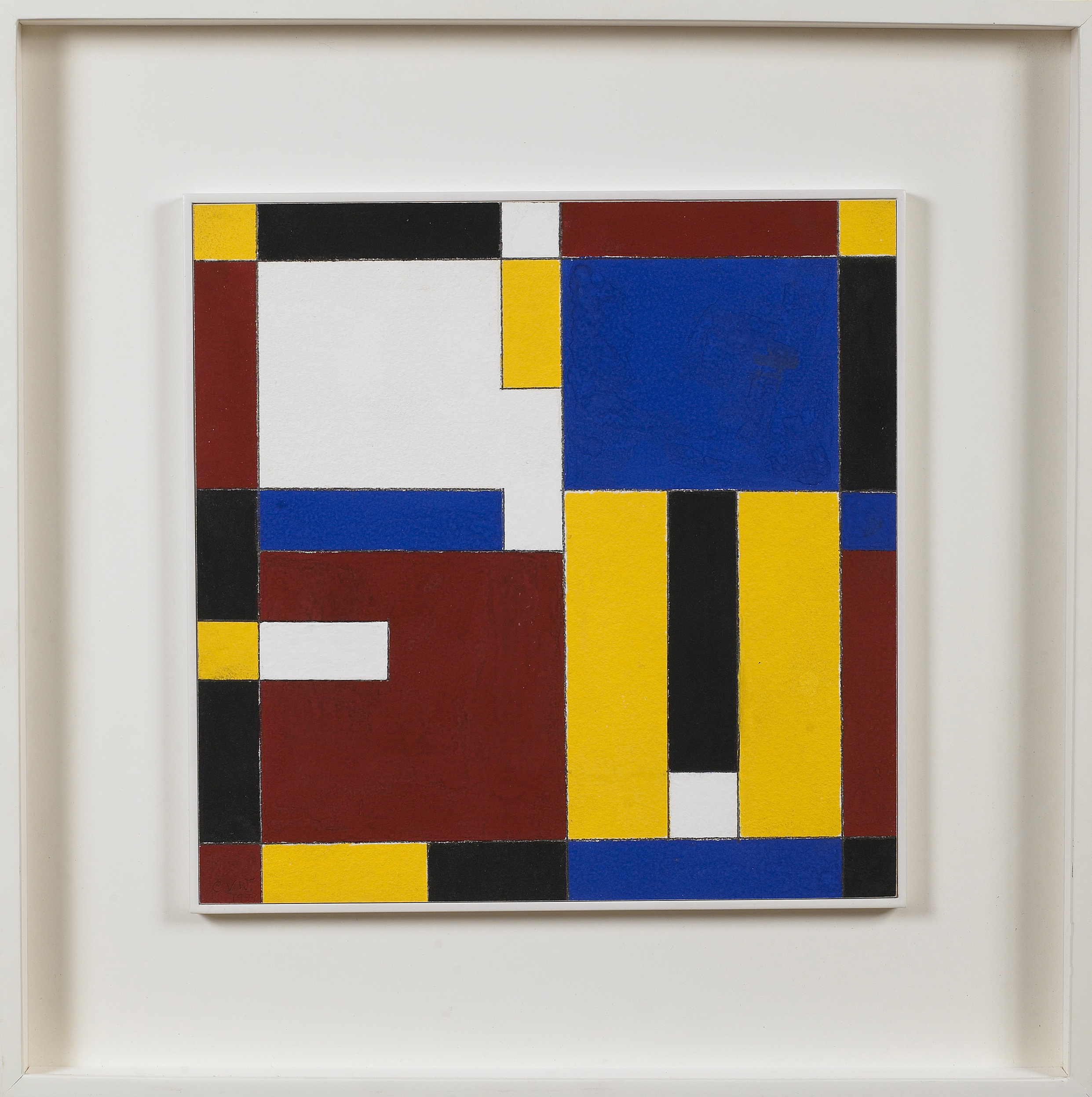 Red, Yellow, Blue,   1959, Gouache over pencil on paperboard, 13 x 13 inches
