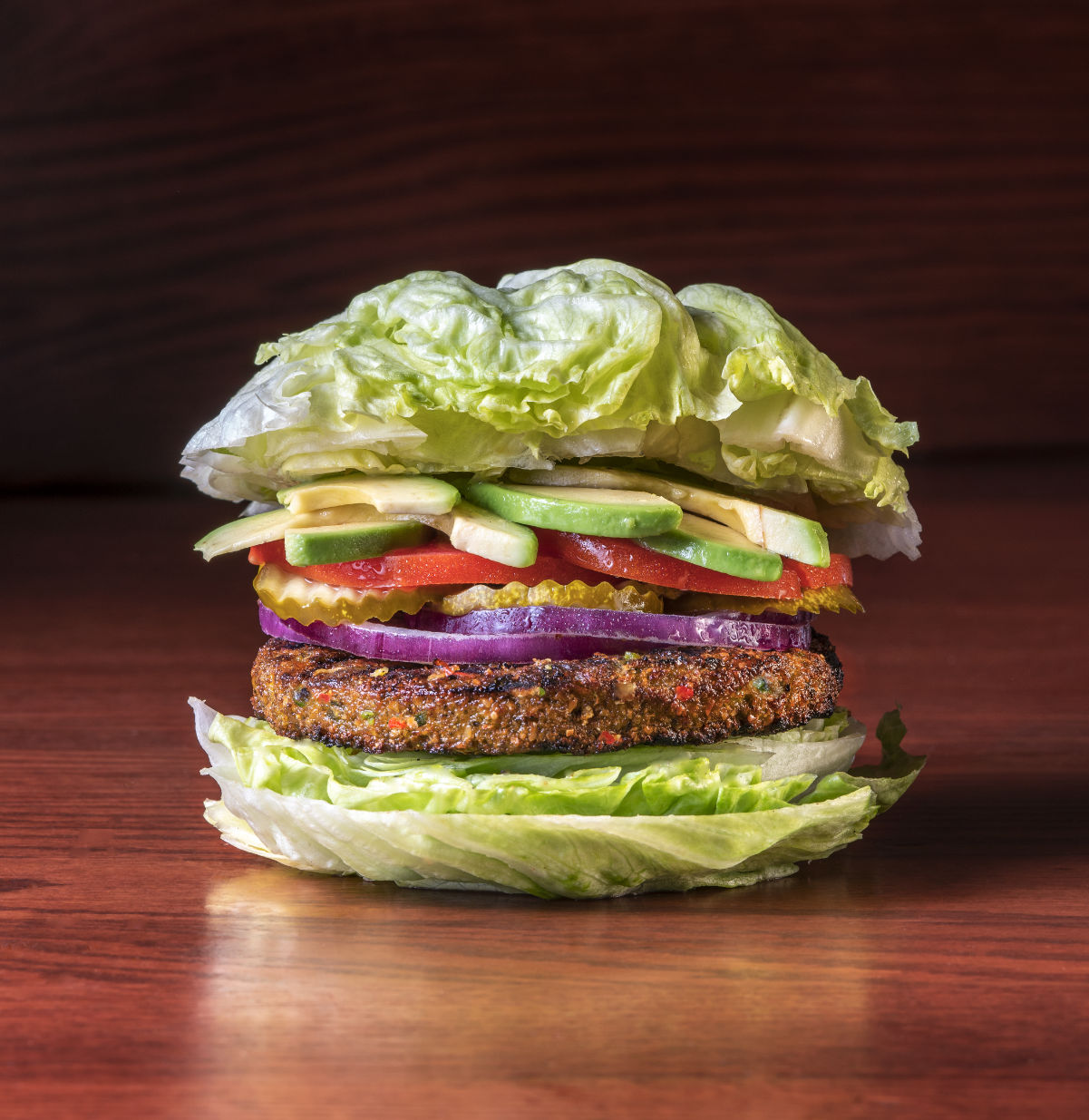 The look of the new Smokey Bones Vegan burger. Just a great tasty creation at Smokey Bones..