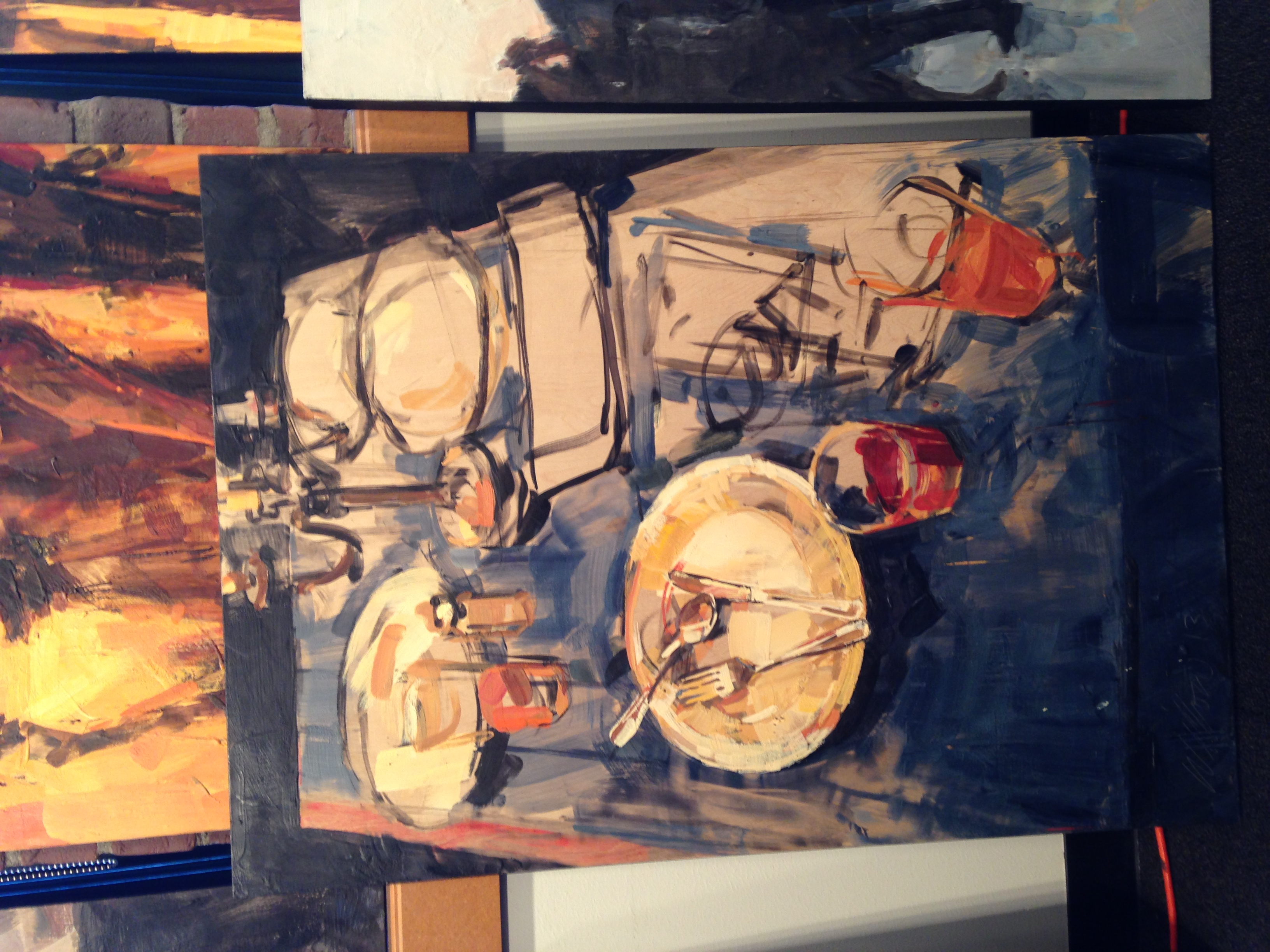 I would love to own one of Willow Bader's dinner table paintings!