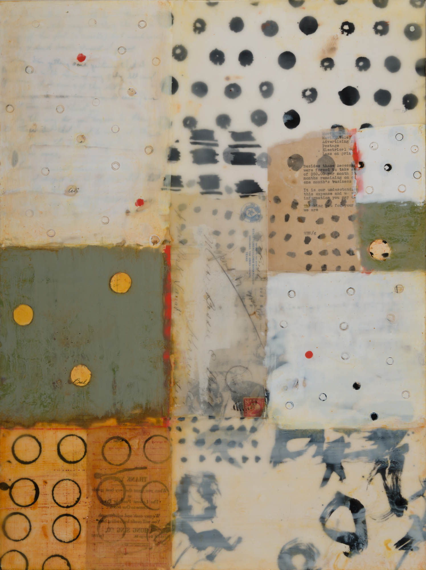 """Thank You, 24"""" x 18"""" x 1.5"""", encaustic, oil, ink, and collage on cradled wood panel"""