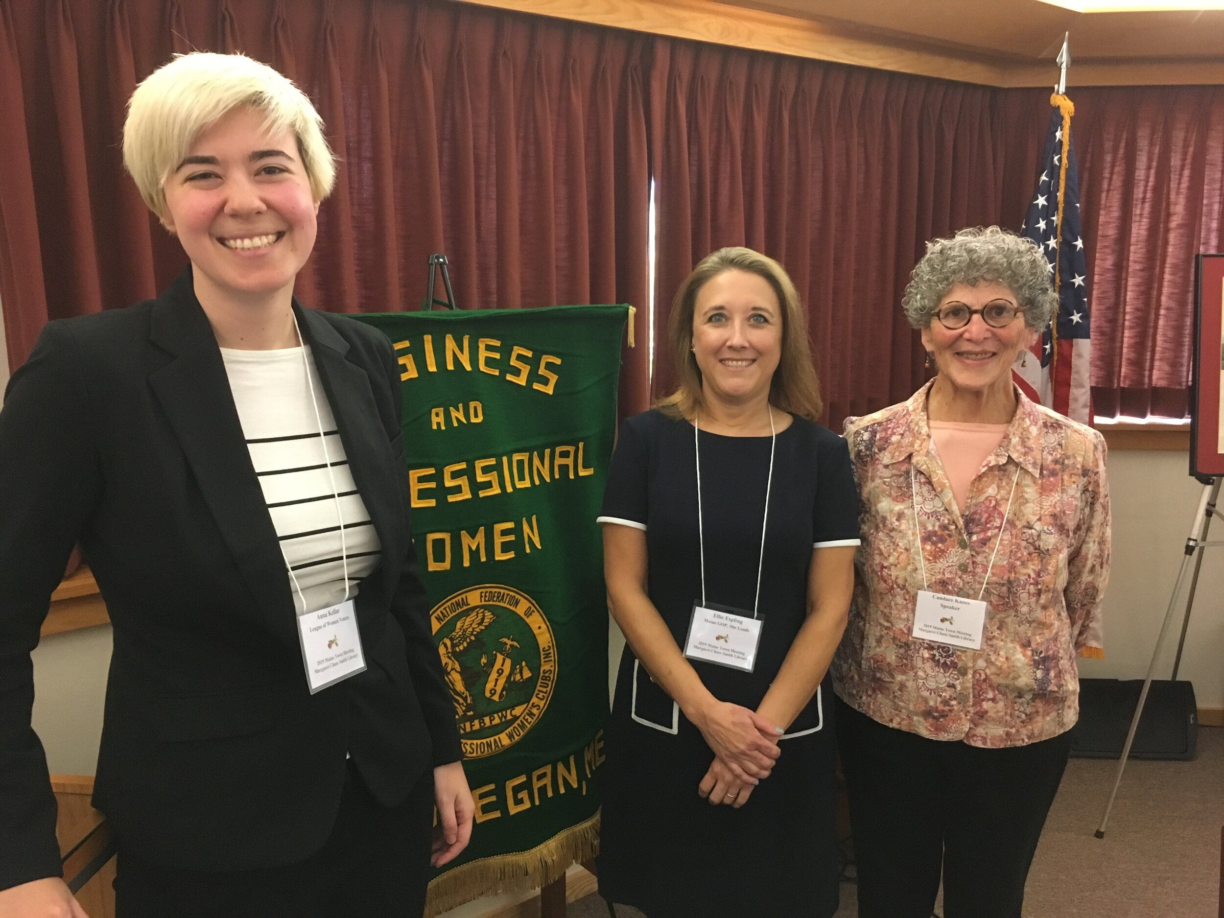 2019 Maine Town Meeting Speakers (L-R) Anna Kellar, Representative Ellie Espling, and Dr. Candace Kanes