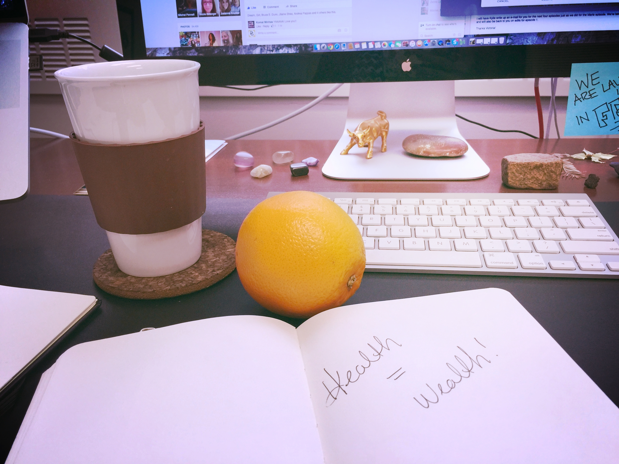 Staged shot - ha! Green tea, and my body journal is at home, so this is my work journal sitting in!