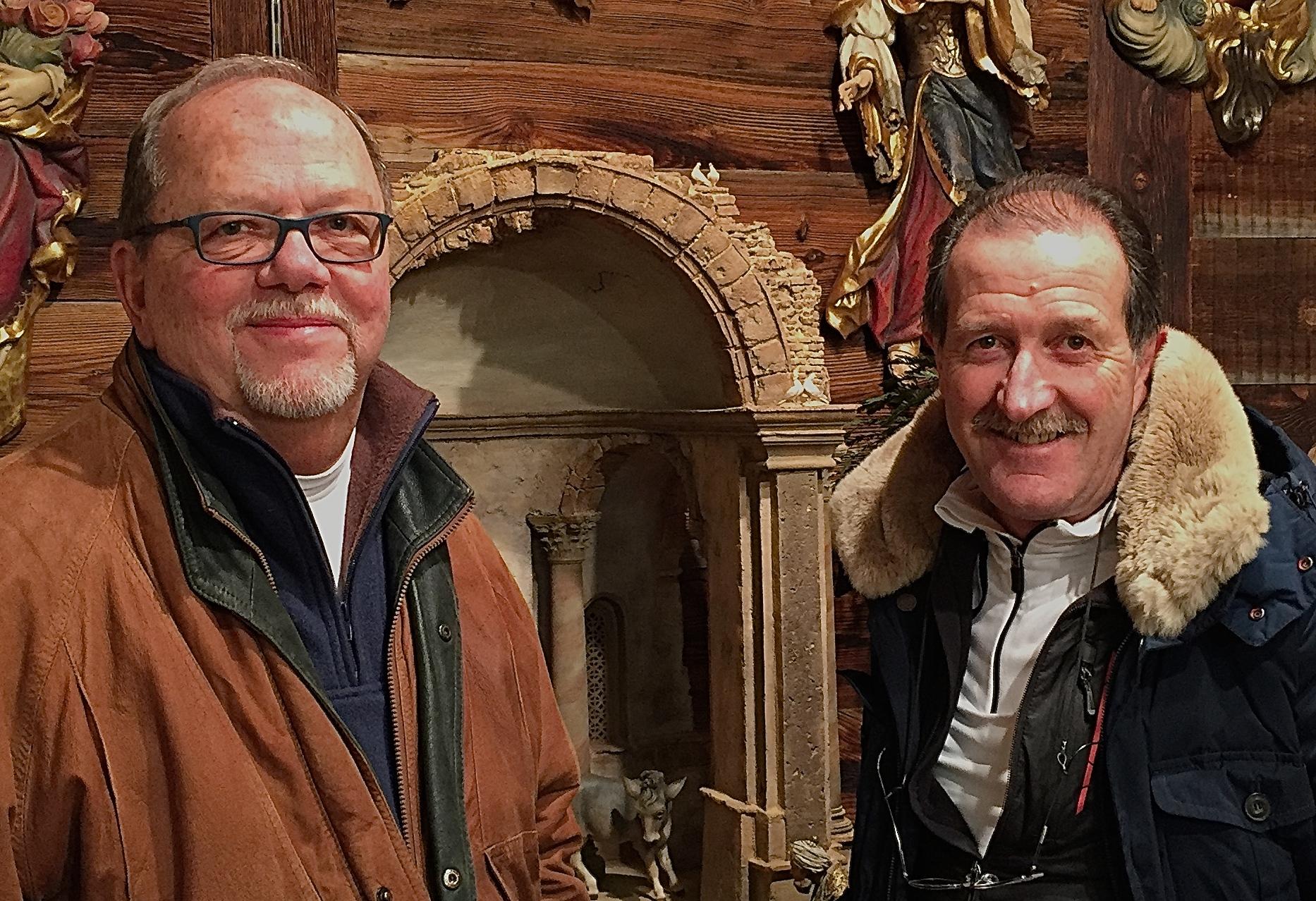 Michael and sculptor Heinrich Demetz in Val Gardena at his Heide Studio & Museum