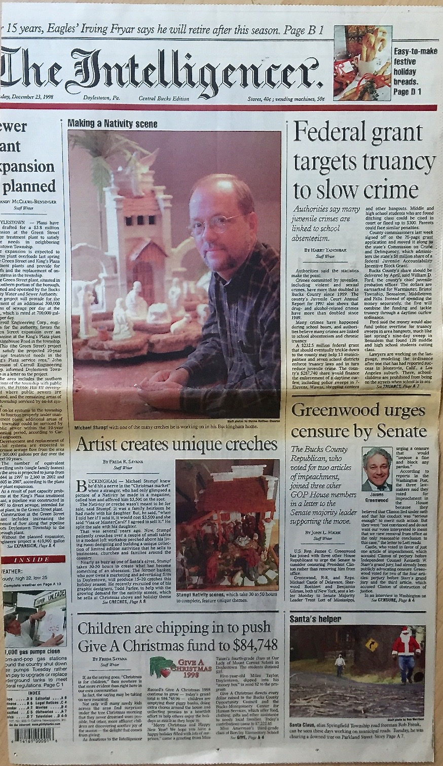 Front page article in The Intelligencer newspaper, December 1998