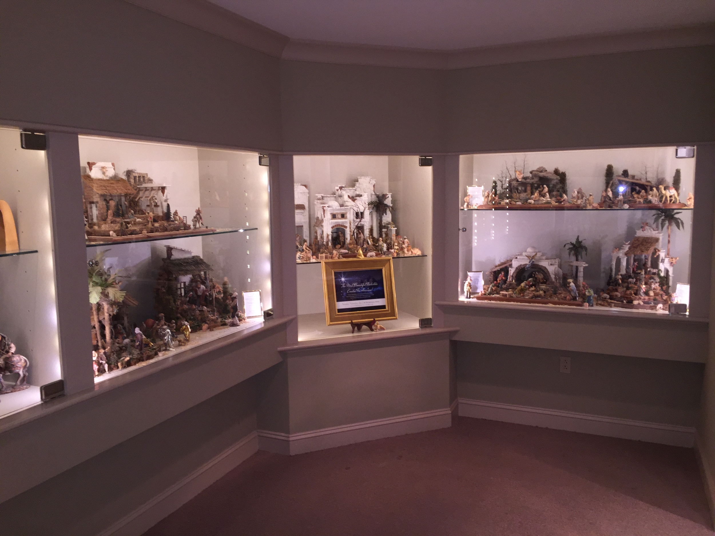 INSTALLATION OF 7 NATIVITIES FOR SPECIAL WORLD MEETING OF FAMILIES AND PAPAL VISIT, AT BYERS' CHOICE MUSEUM.