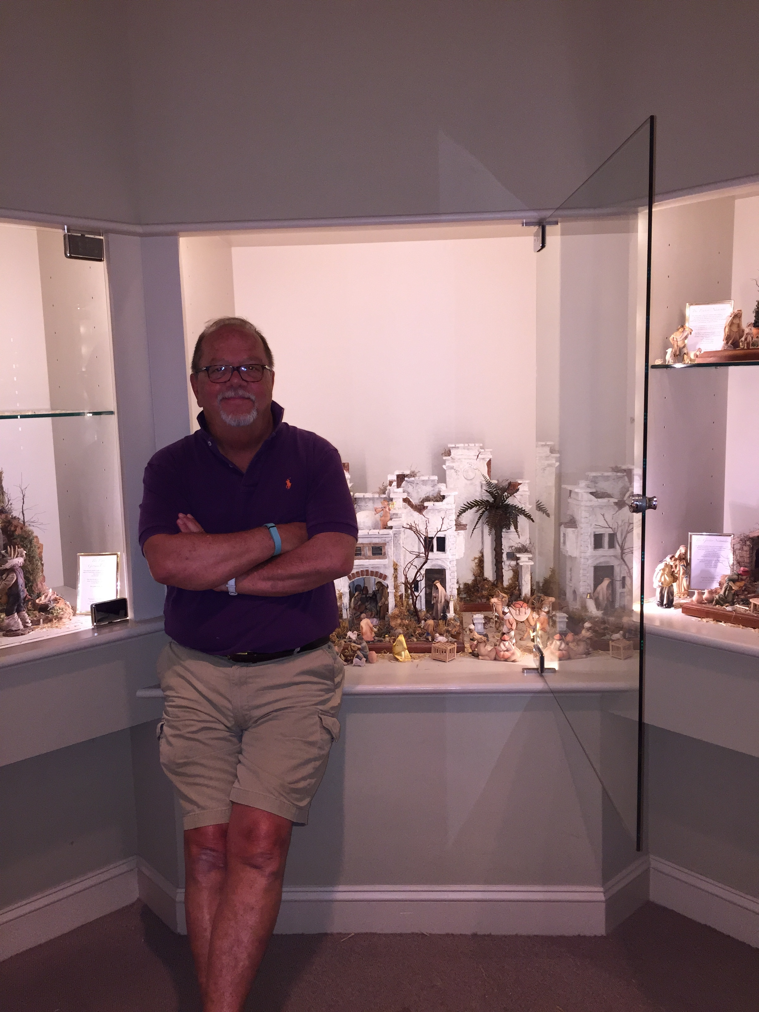 MICHAEL STUMPF AT THE BYERS' CHOICE NATIVITY INSTALLATION IN HONOR OF POPE FRANCIS' U.S. VISIT.