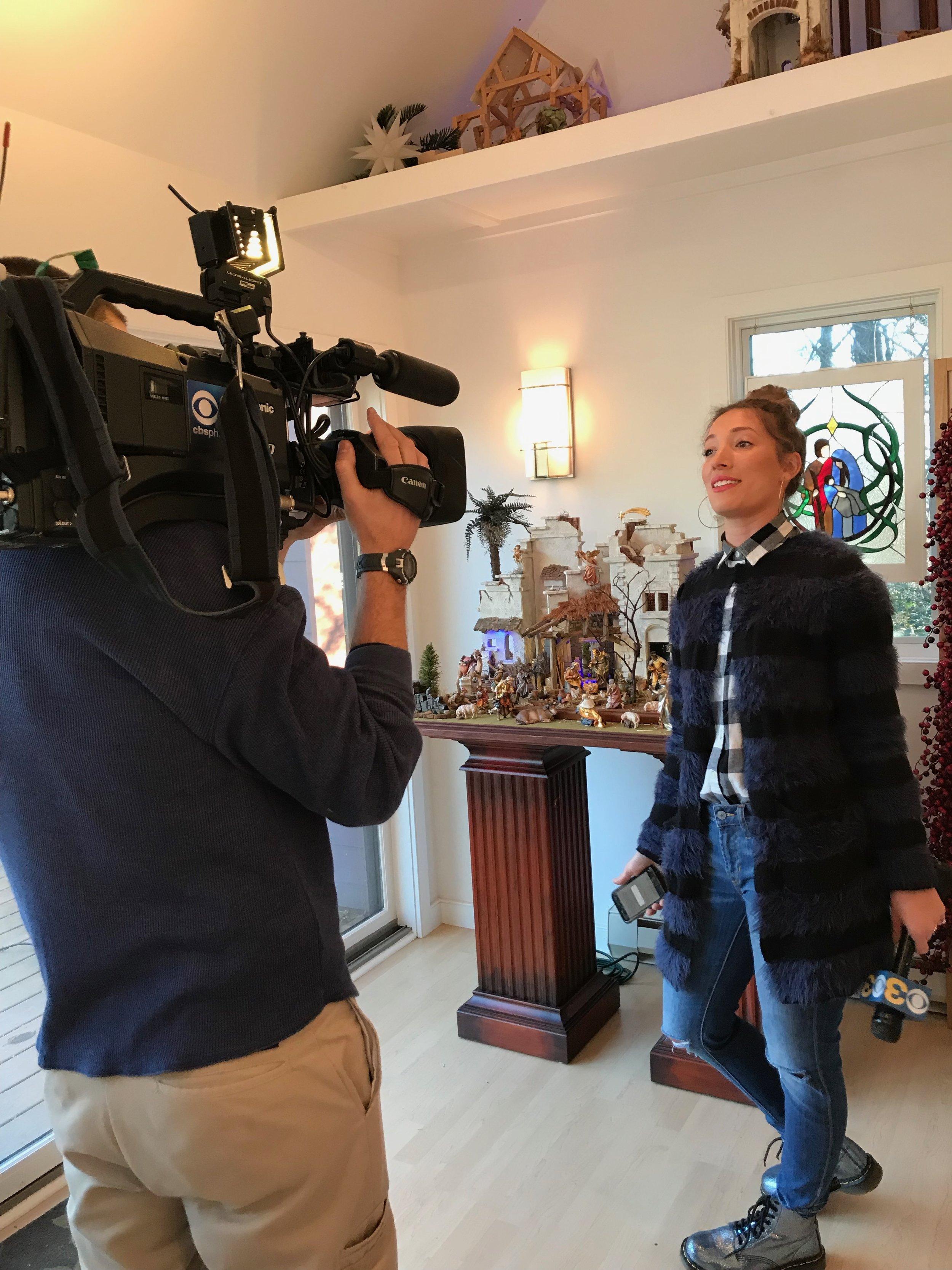 Tori Woodill from CBS3 Philadelphia  doing a feature piece on Navidad Nativities…filmed in the Sanctuary Ateliere Studio.