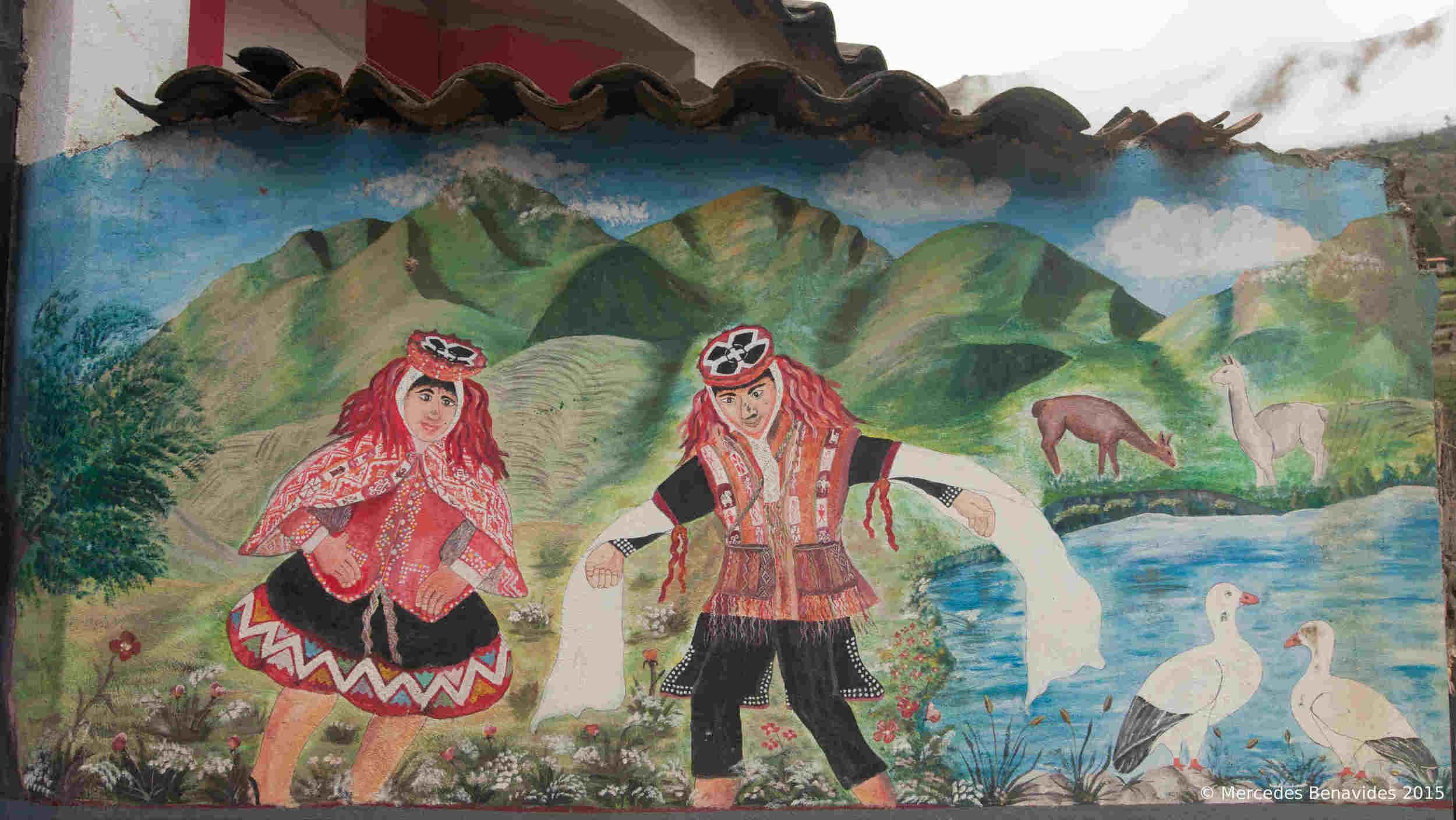 Representación de la danza de la Wallata en mural, escuela primaria de Willoc, Valle de Patacancha, Cusco.  Representation of the Wallata dance on a mural, at the entrance of the primary school in Willoc, Valle of Patacancha, Cusco.