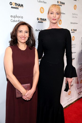 IFP Executive Director Joana Vicente and actress Uma Thurman on the red carpet at the 2014 Gotham Awards.