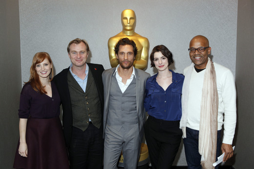 Jessica Chastain, Christopher Nolan, Matthew McConaughey, Anne Hathaway and Patrick Harrison attend The Academy of Motion Picture Arts and Sciences official Academy screening of 'Interstellar' (2014).