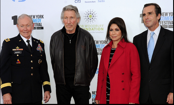 General Martin E. Dempsey, Roger Waters, Caroline Hirsch and Bob Woodruff at the New York Comedy Festival's Stand Up For Heroes event.