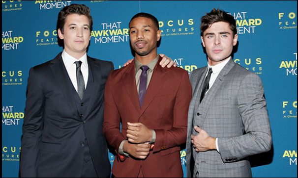 Miles Teller, Michael B. Jordan and Zac Efron attend the premiere of 'That Awkward Moment' (Focus Features).