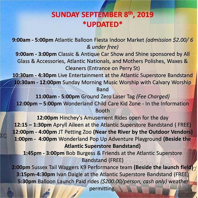 Updated Schedule for Sunday. We're up and running!