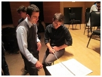 Dan (L) discusses  Chasm with  conductor Stephen Mulligan (R)