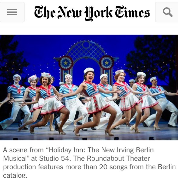 """Proud of our former dancers catherine ricafort and jonalyn saxer now on broadway in the hit musical """"holiday inn."""" see them perform in the 2016 thanksgiving macy's day parade"""